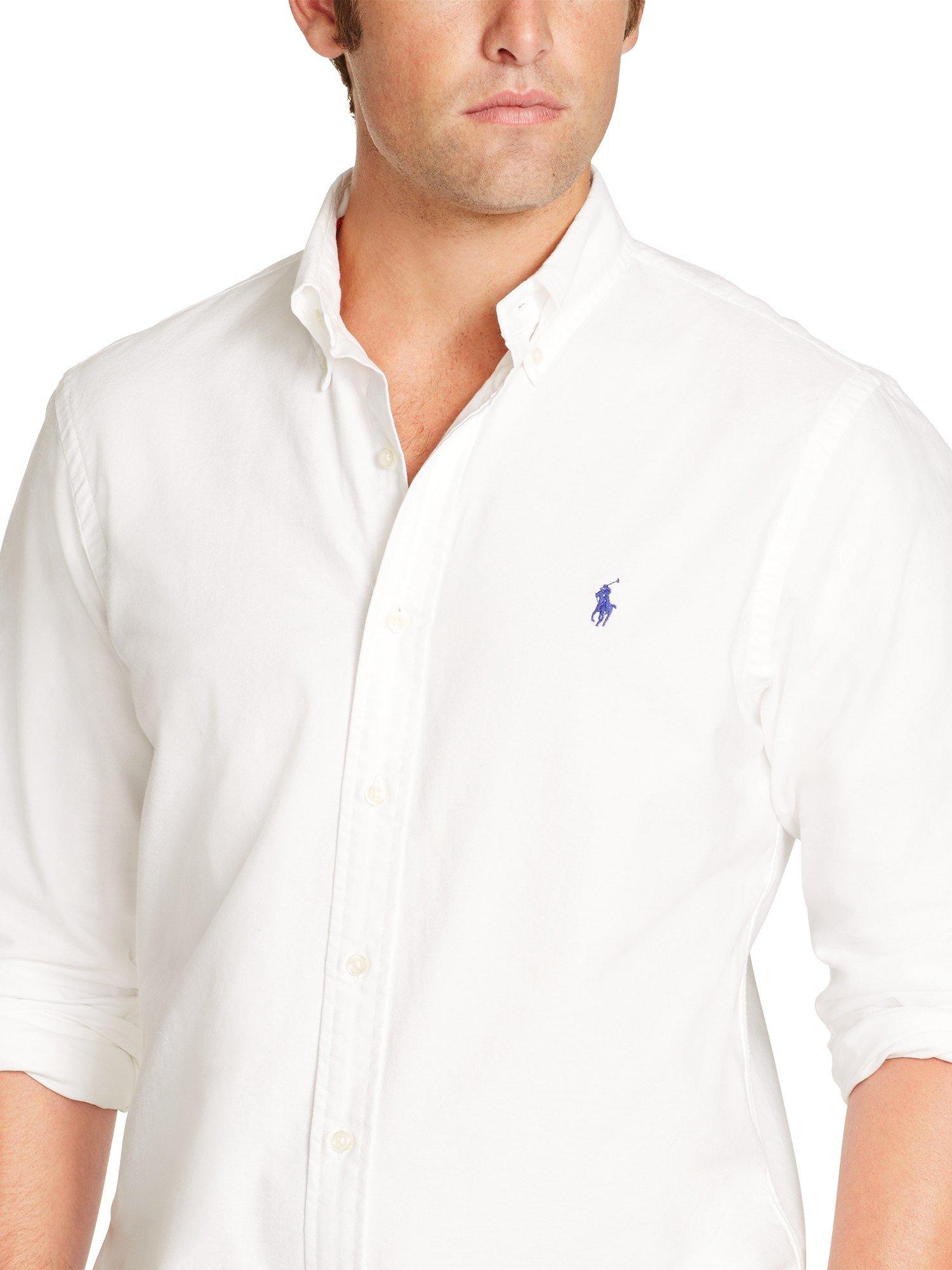 19632f069c7a0 ... store polo ralph lauren slim fit oxford shirt in white for men lyst  2cbb4 b9cda