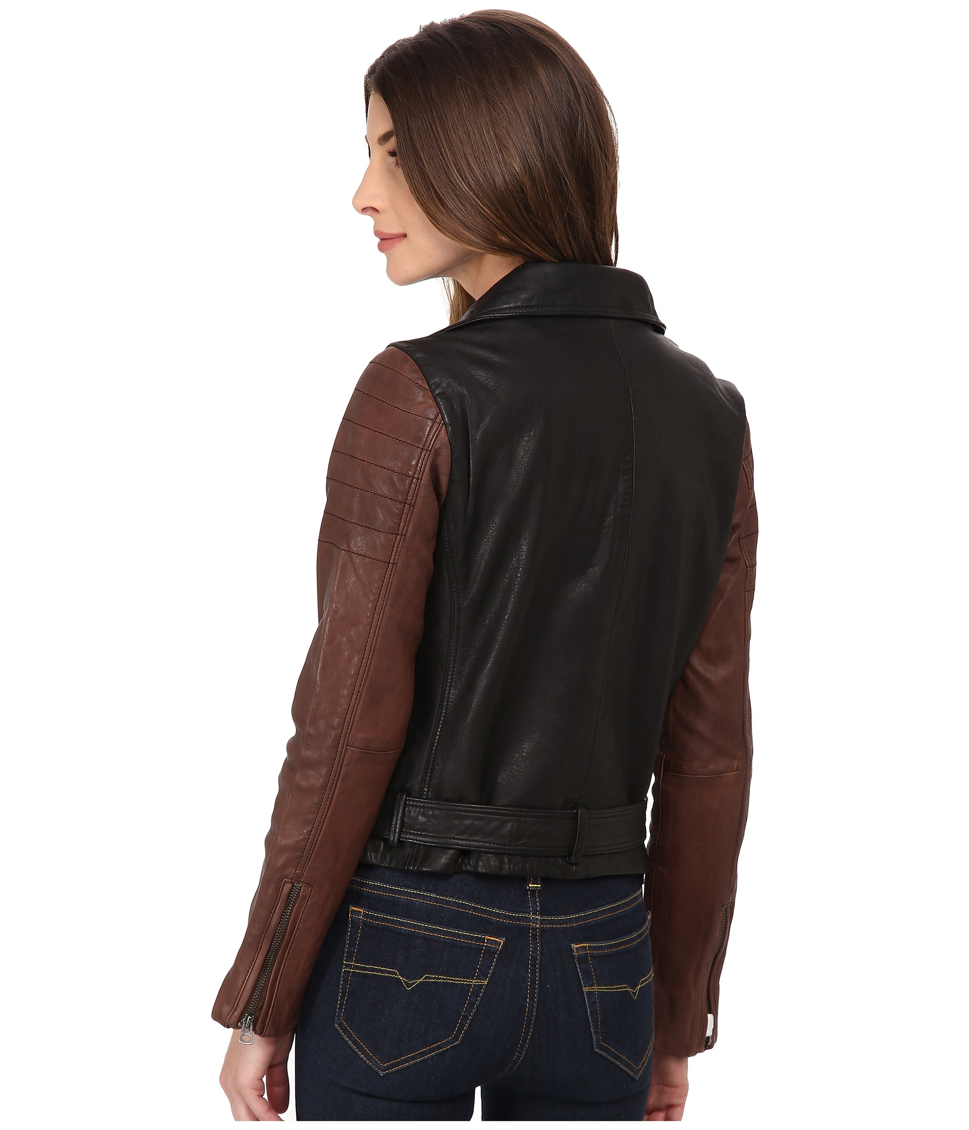 Lucky Brand Faux Leather Trim Packable Down Moto Jacket In