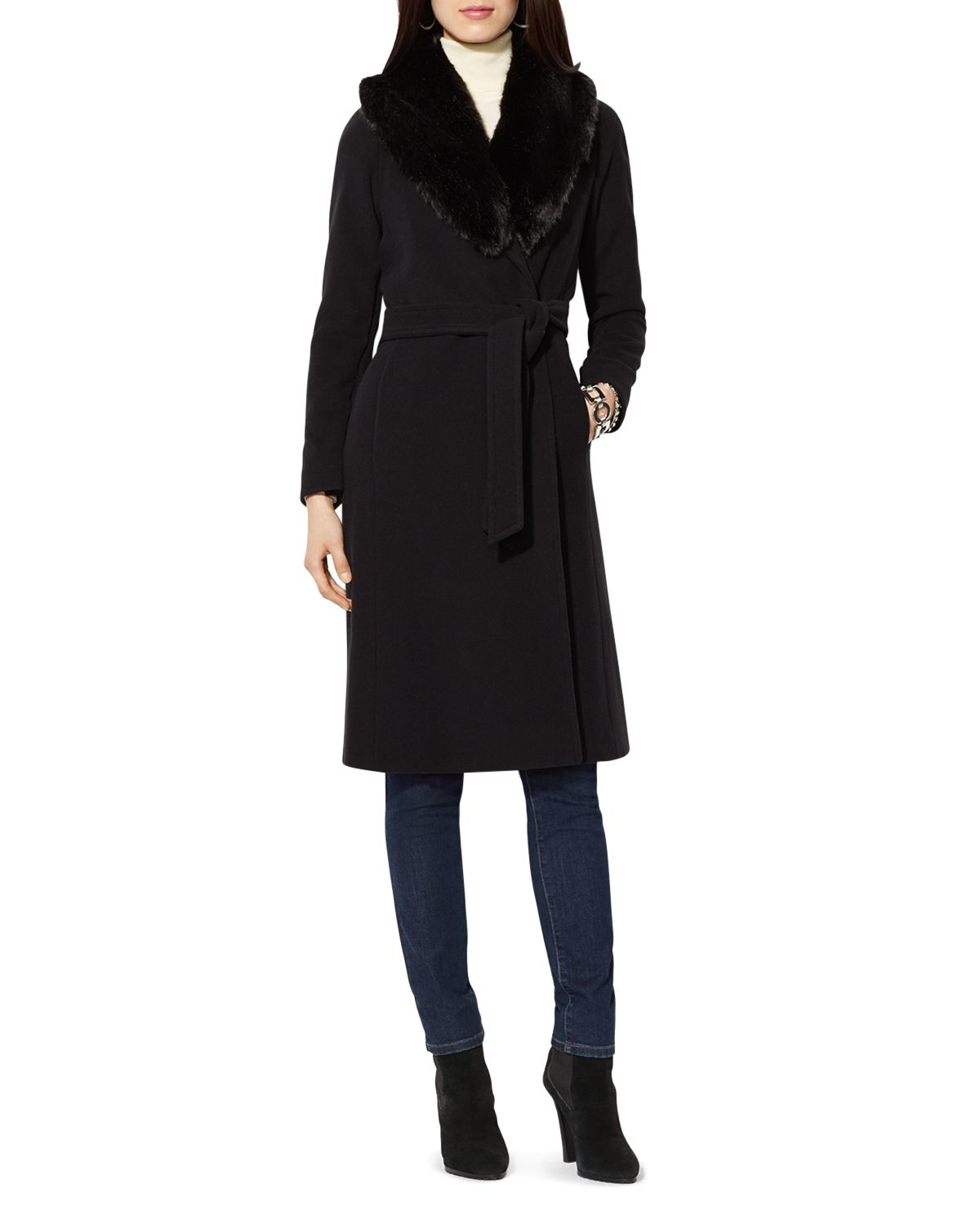 black faux fur collar wrap coat
