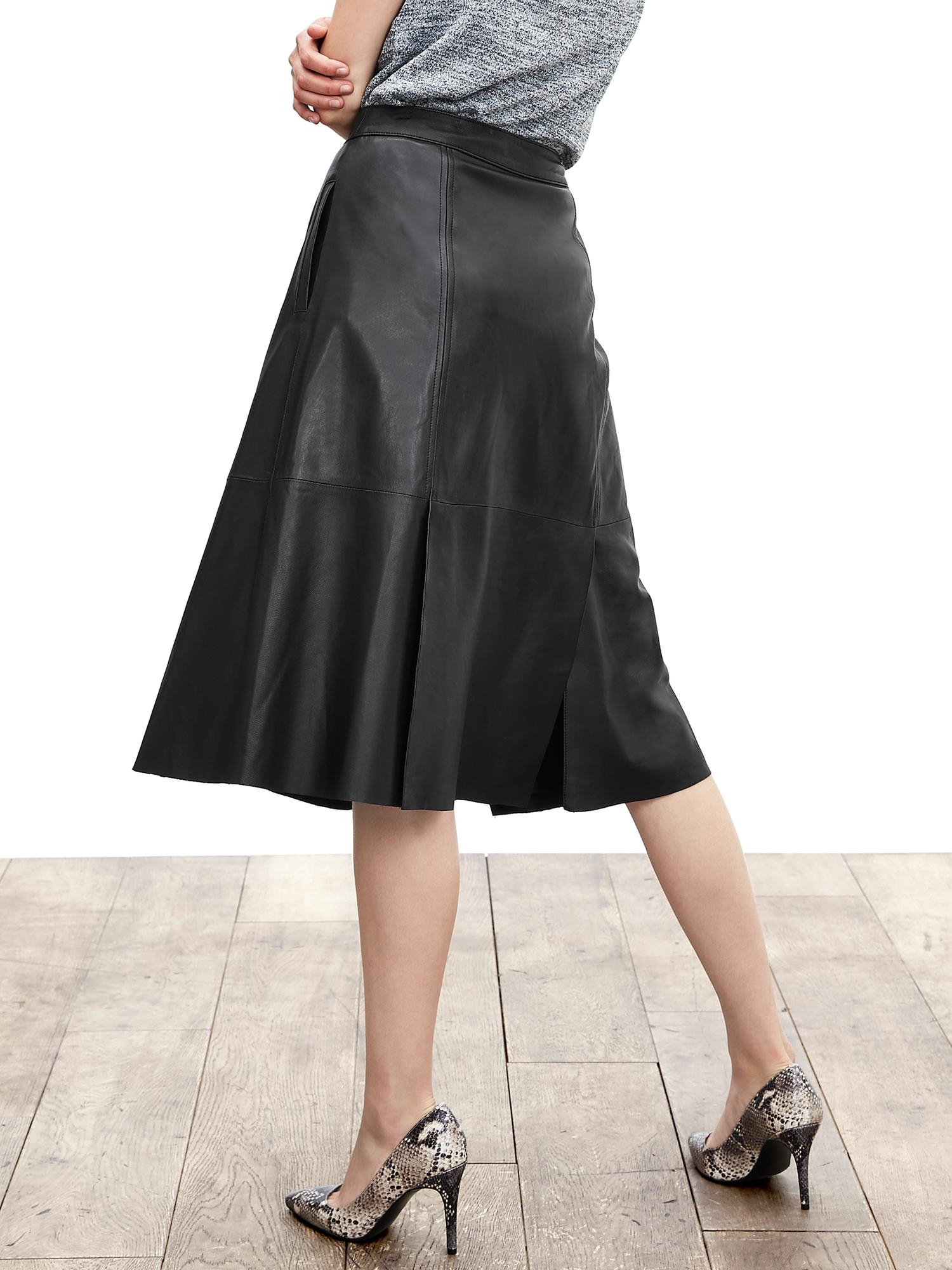 banana republic leather midi skirt in black lyst