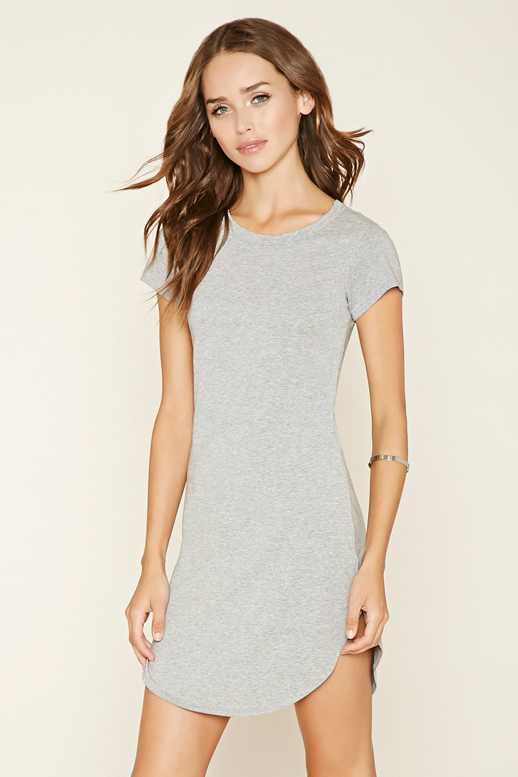 Lyst Forever 21 Curved Hem T Shirt Dress In Gray