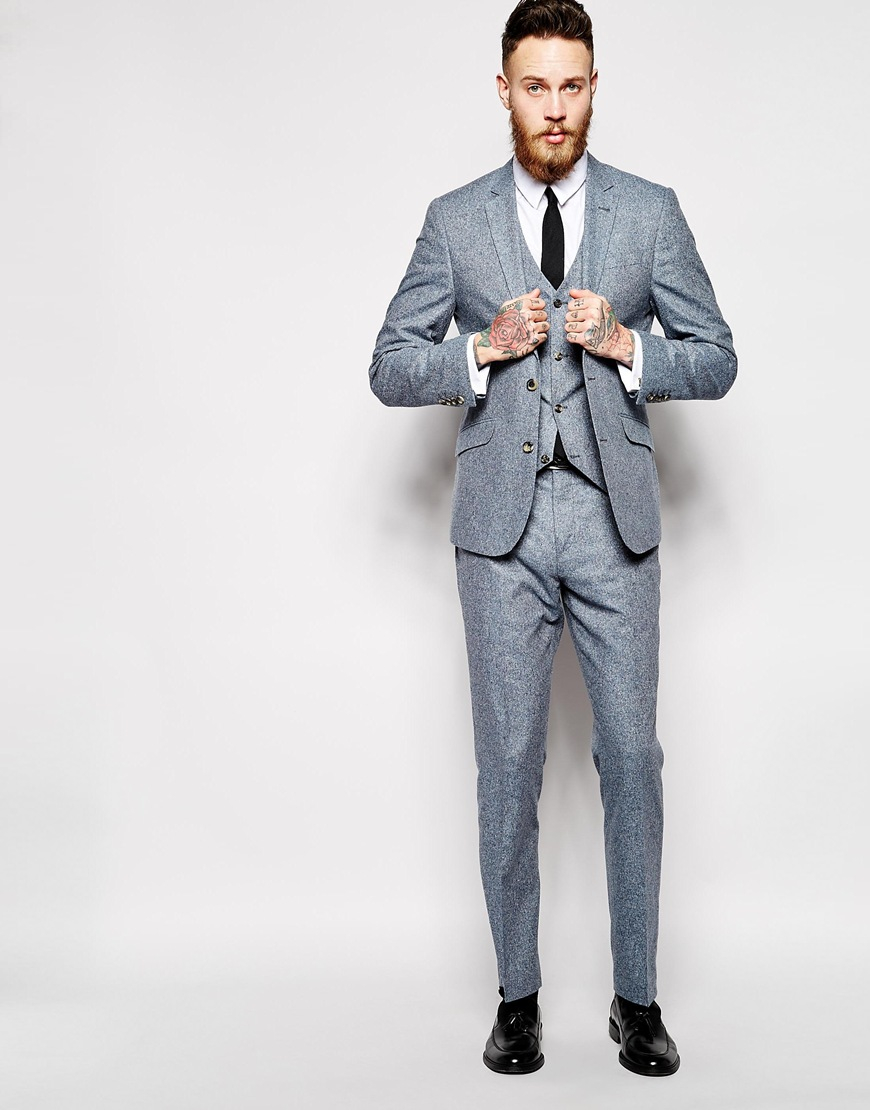Asos Slim Fit Suit Trousers In 100% Silk in Blue for Men | Lyst