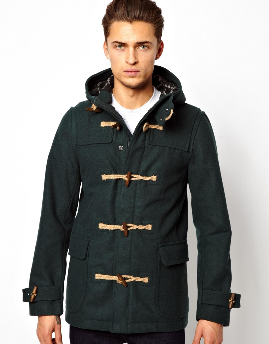 Pull&bear Duffle Coat in Wool Mix in Green for Men | Lyst