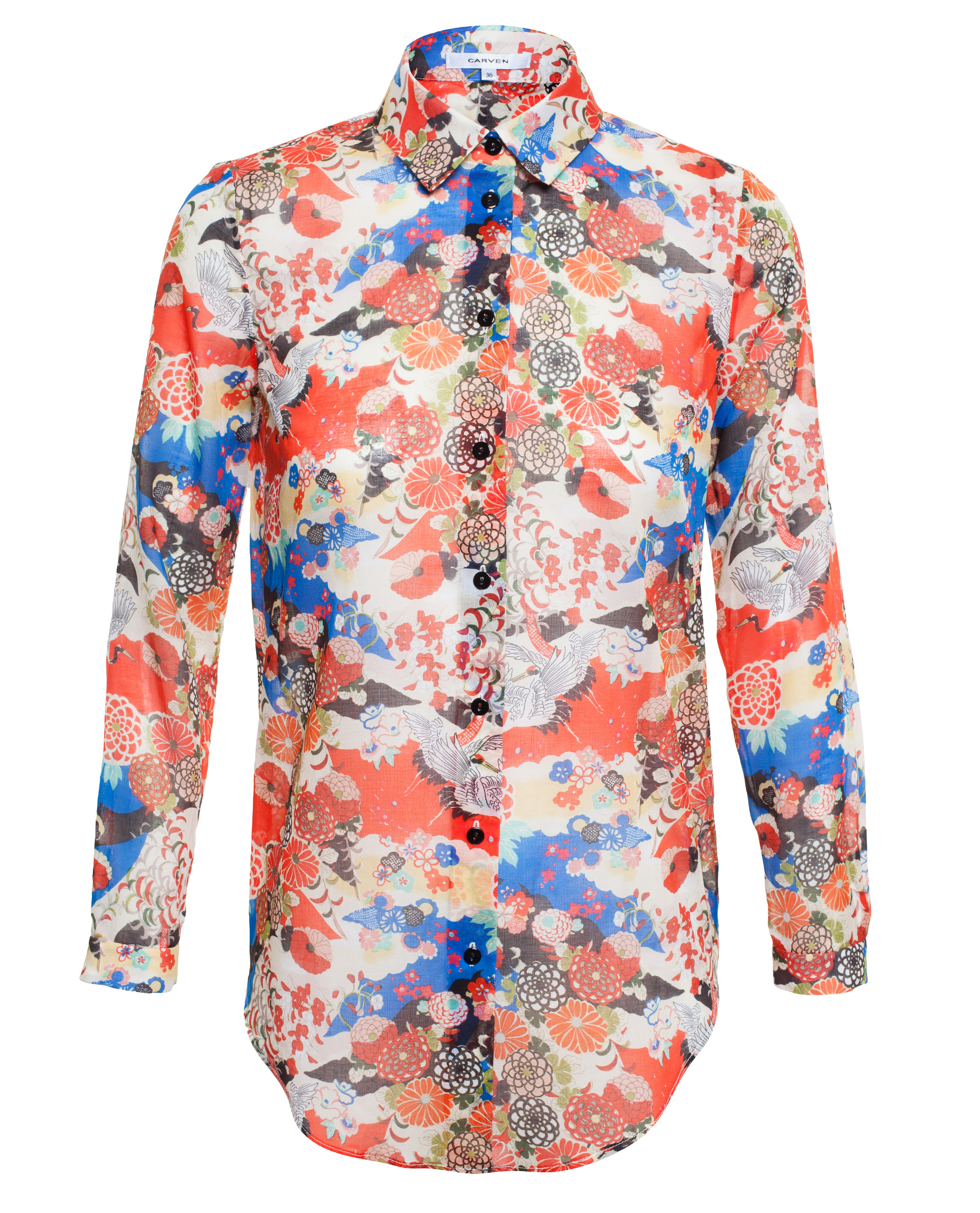 Carven Cotton Shirt With Japanese Floral Print | Lyst