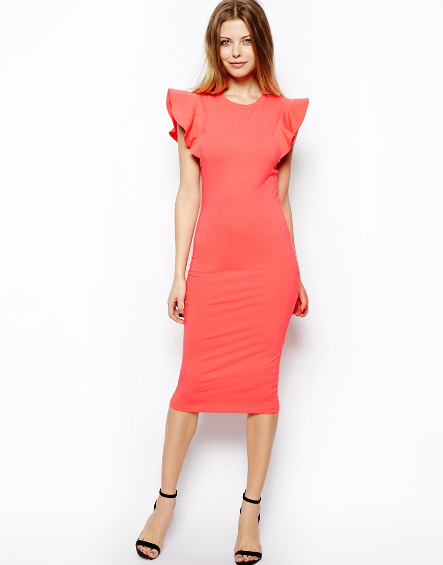 Lyst Asos Bodyconscious Dress With Structured Ruffle