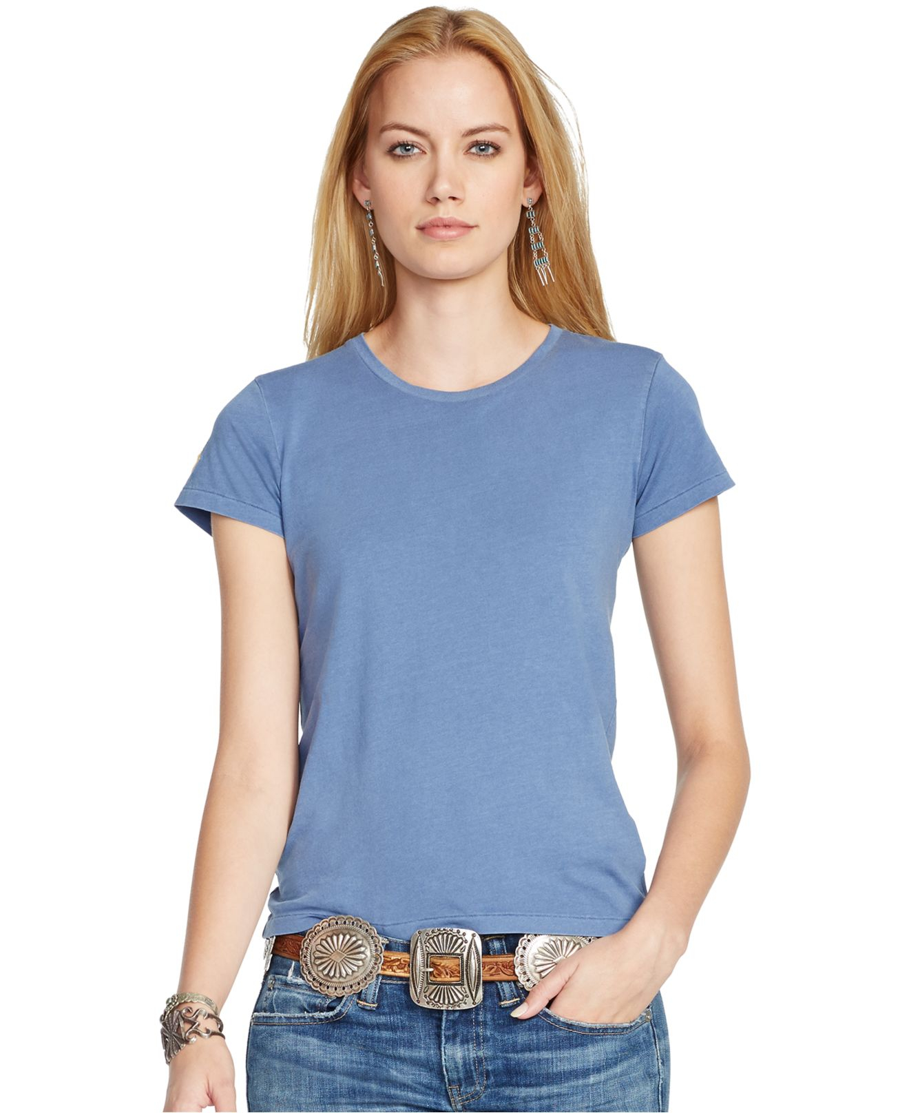 Lyst Polo Ralph Lauren Short Sleeve Fitted T Shirt In Blue