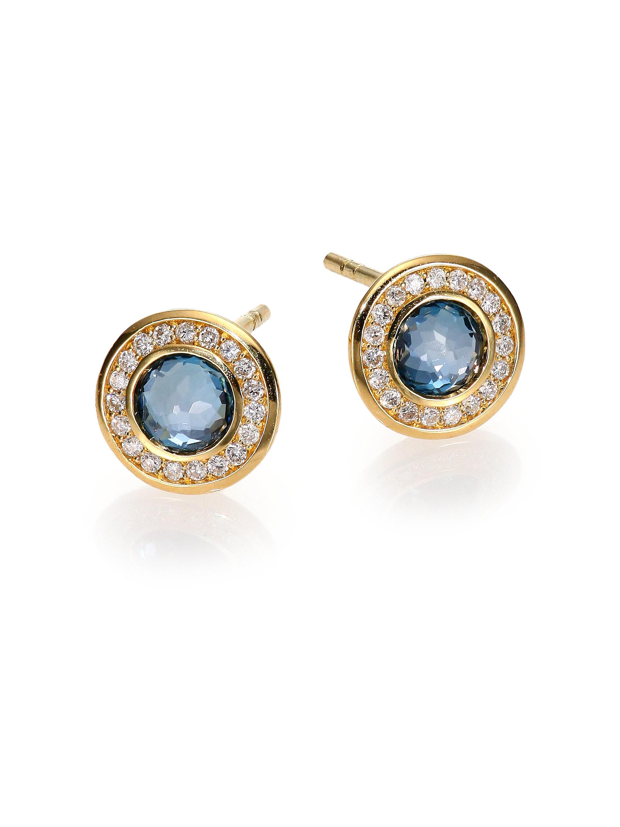 Ippolita Lollipop London Blue Topaz Diamond & 18k Yellow Gold