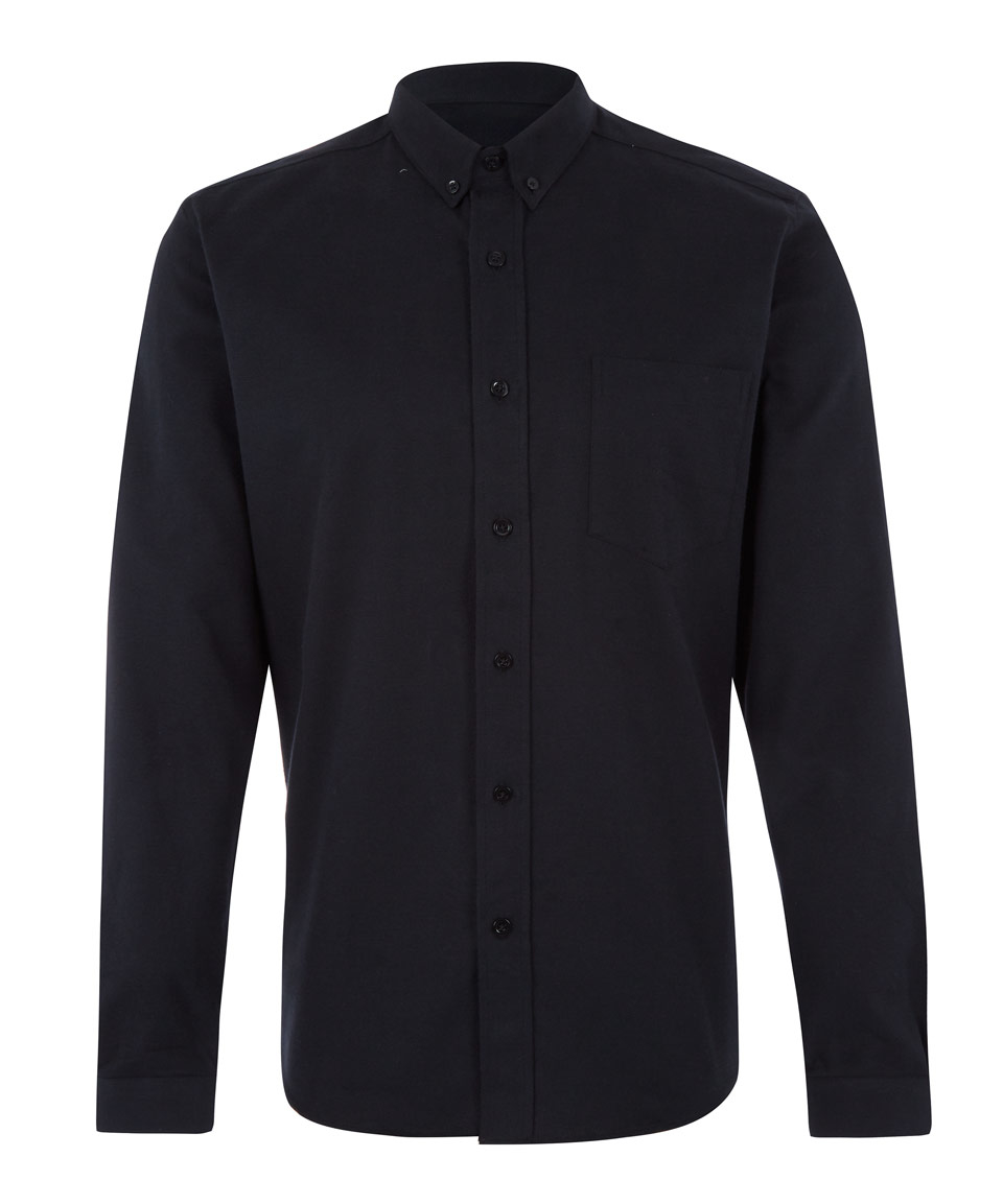 Ami Black Button-down Winter Oxford Cotton Shirt in Black for Men ...