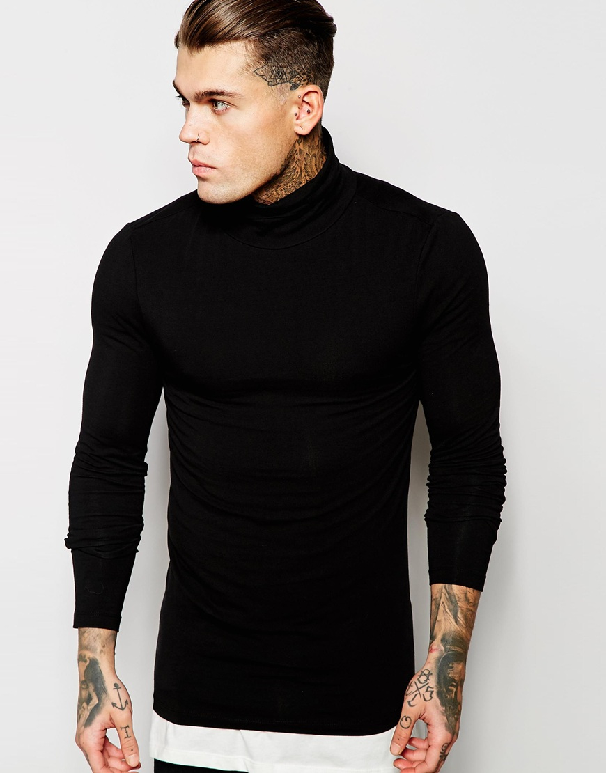 Asos extreme muscle fit long sleeve t shirt with roll neck for Black fitted long sleeve t shirts