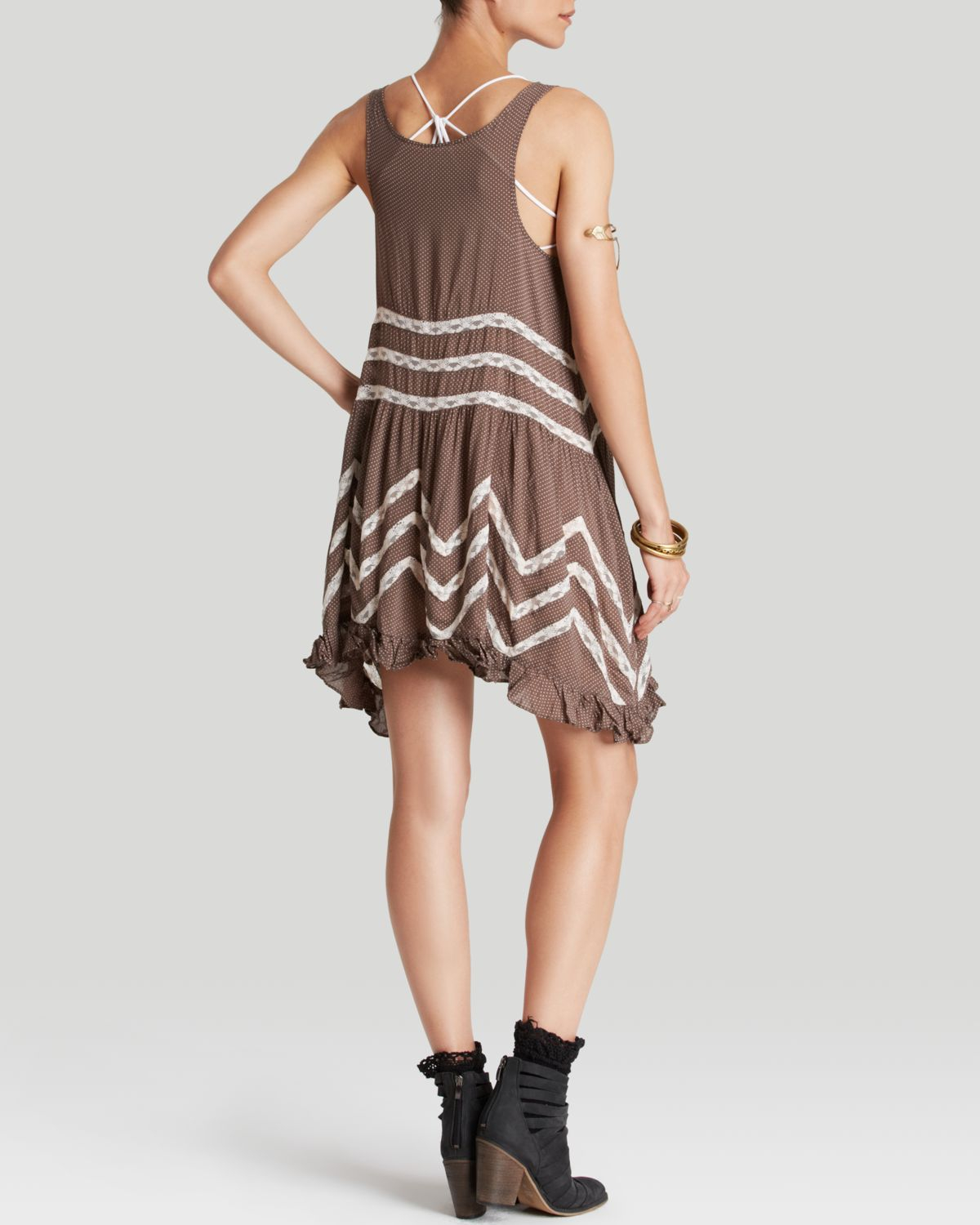 fd14f1e3862b Free People Slip Dress - Voile Trapeze in Brown - Lyst