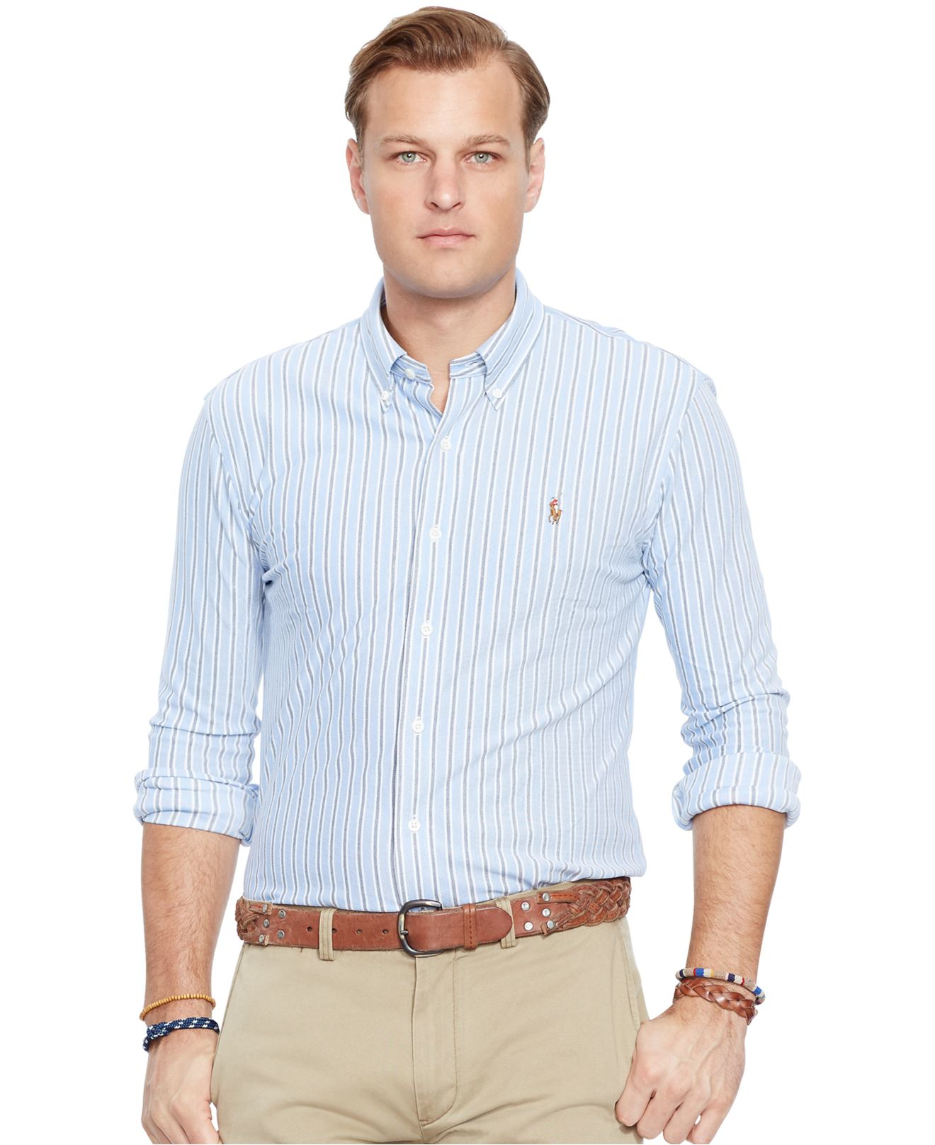 Lyst polo ralph lauren big tall striped knit oxford for Big and tall oxford shirts