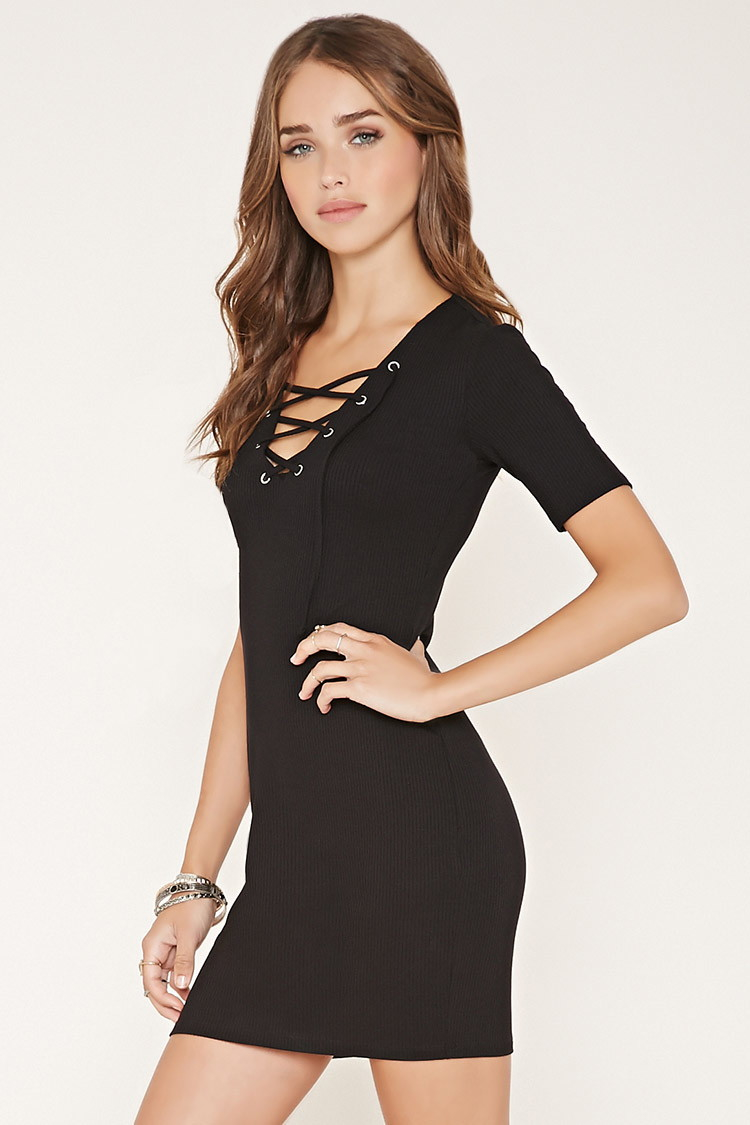 7b6b0128335 Forever 21 Ribbed Lace-up Bodycon Dress in Black - Lyst