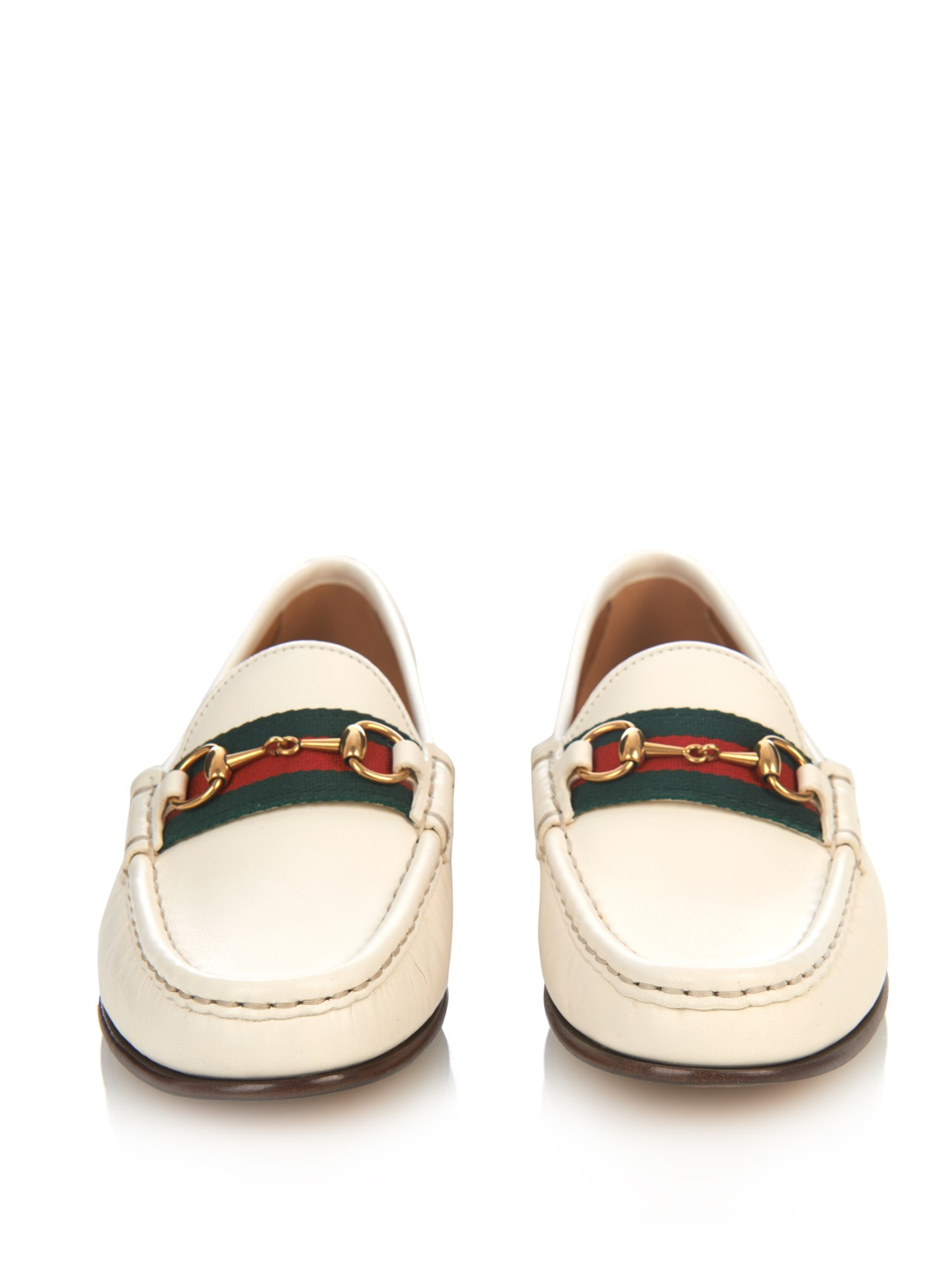 cf524871b2c Lyst - Gucci Horsebit and Web Leather Loafers in White