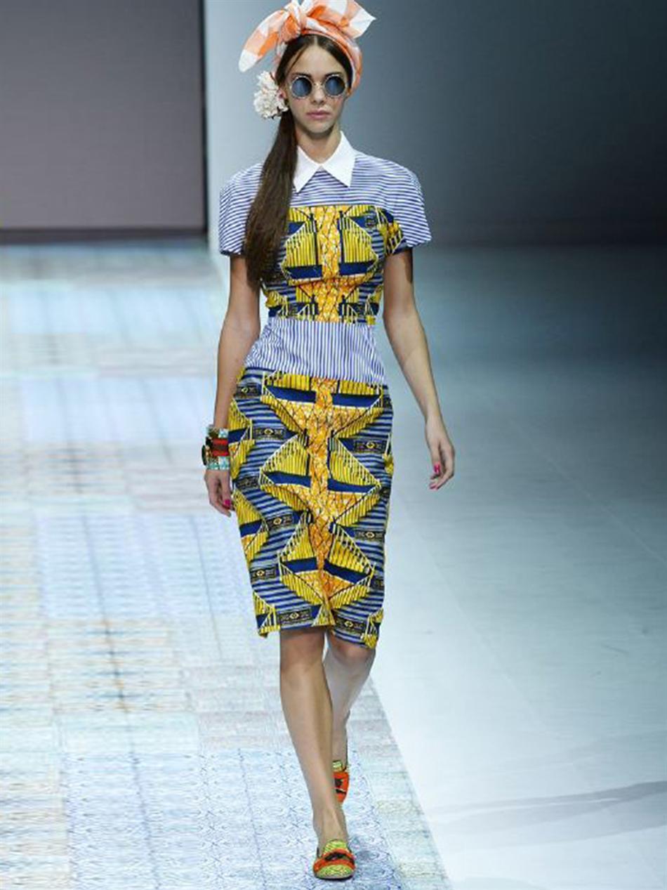 ae19c959aa Lyst - Stella Jean Viola Stripe and Africanprint Dress in Blue