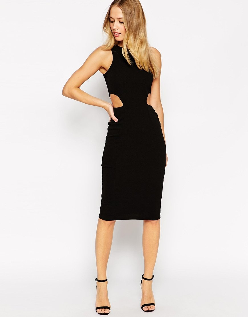 Asos High Neck Cut Out Side Bodycon Midi Dress in Black