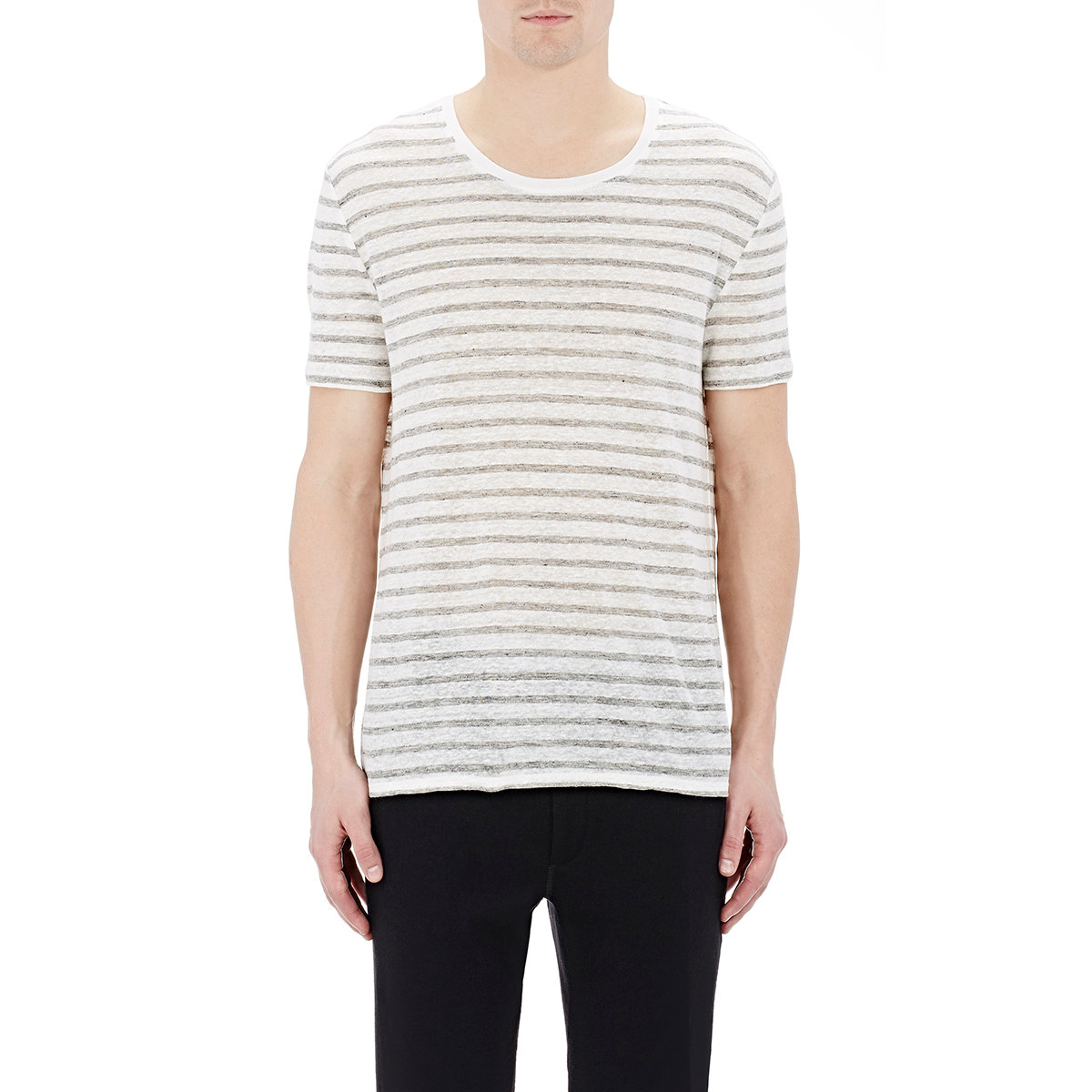 Atm men 39 s striped jersey t shirt in gray for men lyst for Grey striped t shirt