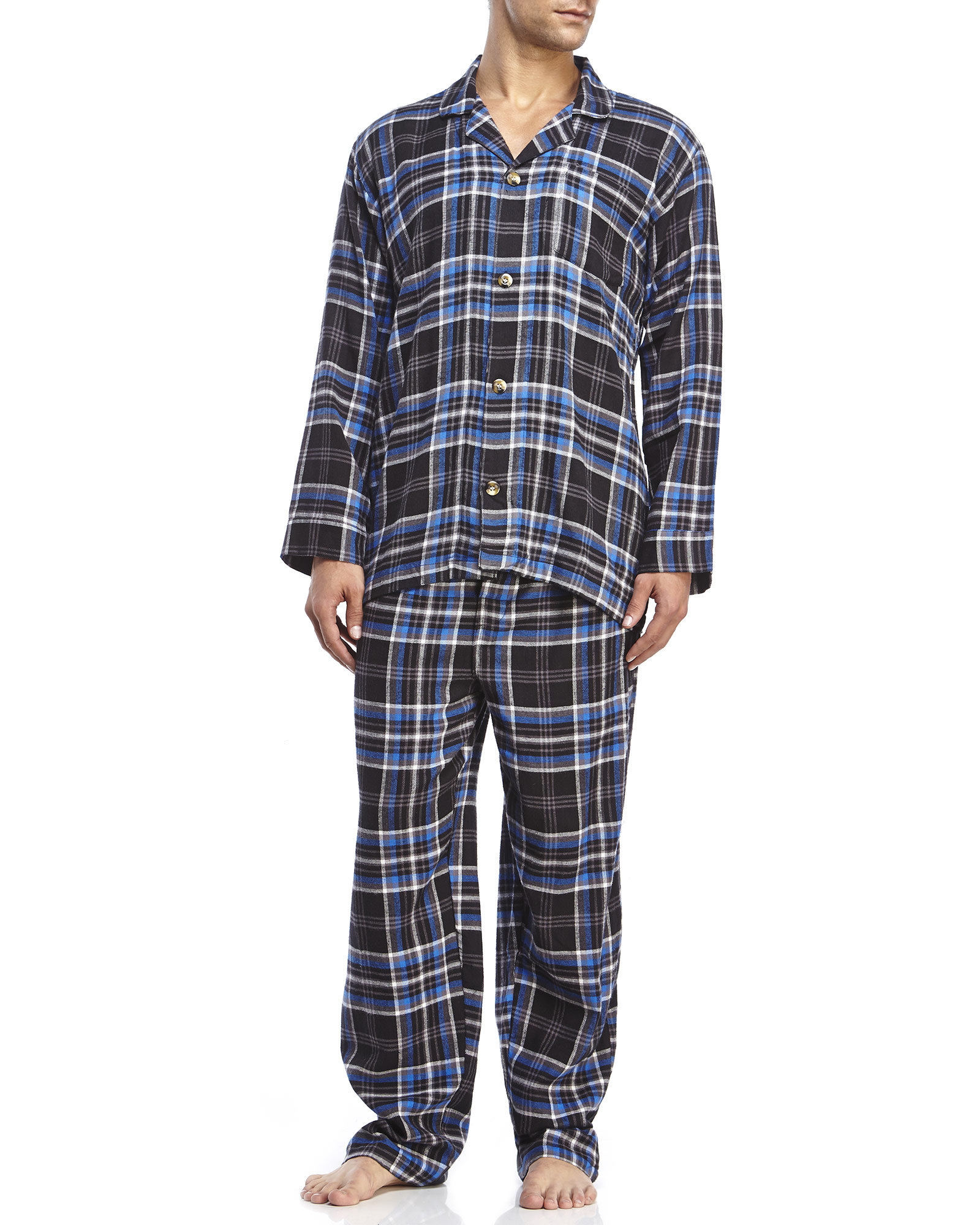 Geoffrey beene Blue Long Sleeve Long Leg Flannel Pajamas in Blue ...