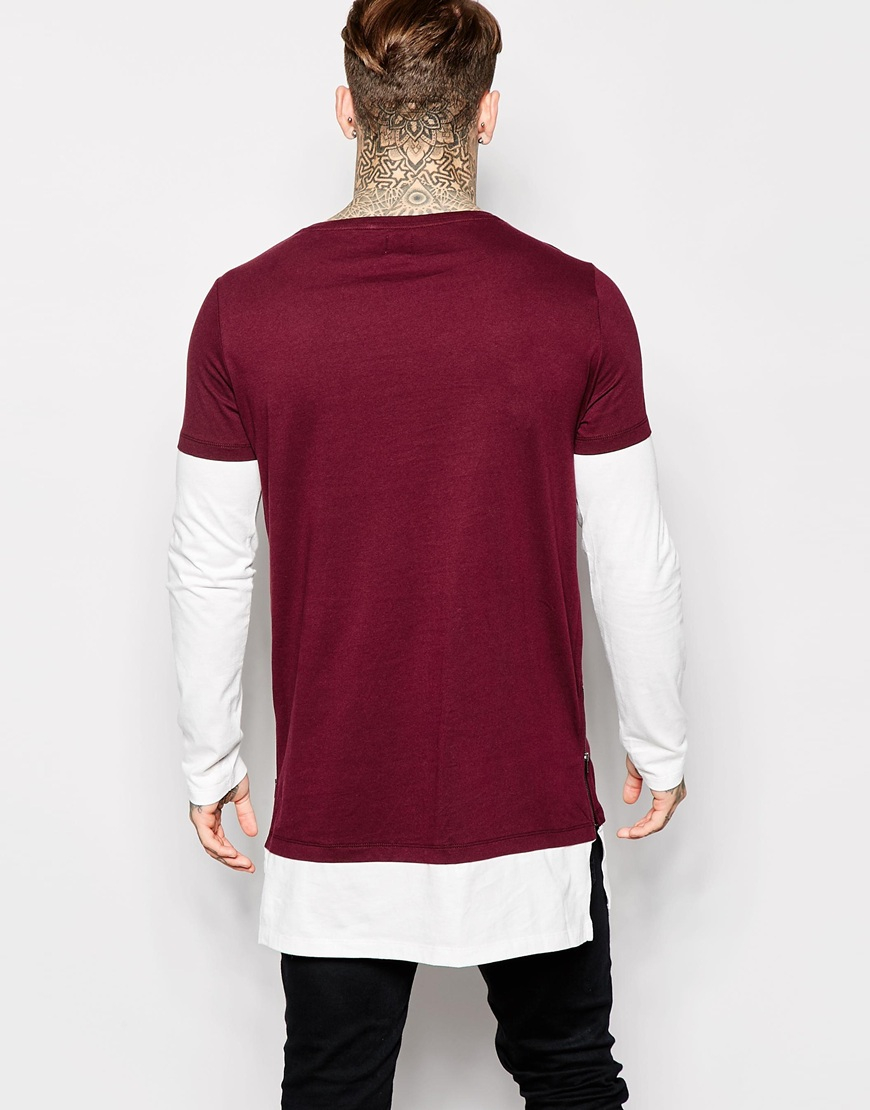 Lyst Asos Super Longline Long Sleeve T Shirt With Double