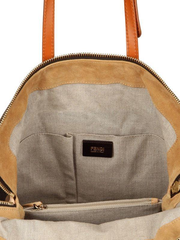 a71719174b95 Fendi 2Bag Pequin Jacquard Calfskin Top Handle in Brown (TOBACCO .