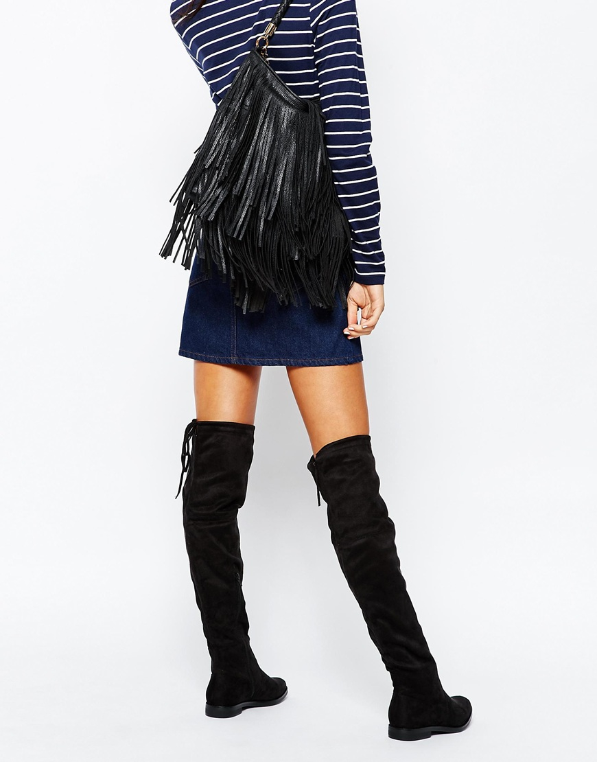 7b3060404c9 Lyst - Truffle Collection Cece Tie Back Over The Knee Boots - Black ...