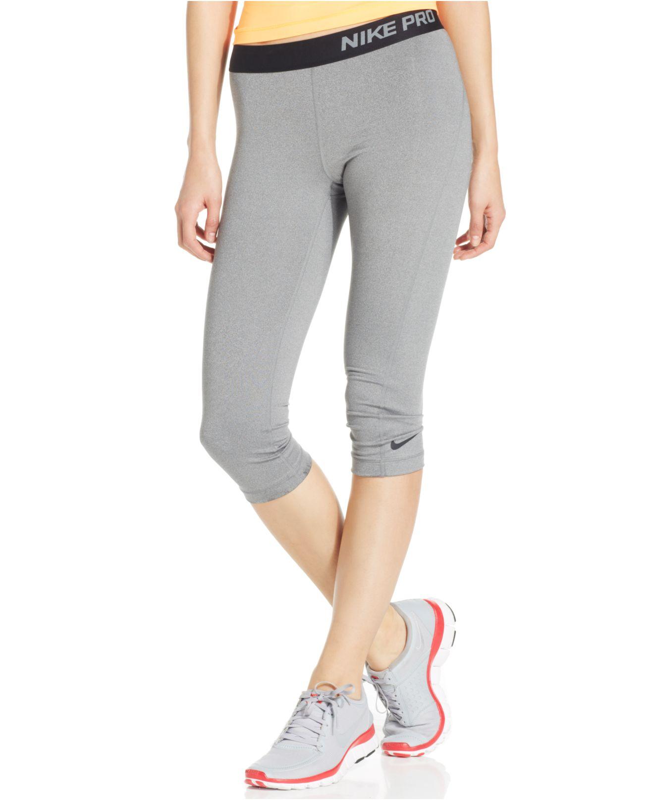 4e838c92eb0e4 Nike Pro Capri Active Leggings in Gray - Lyst
