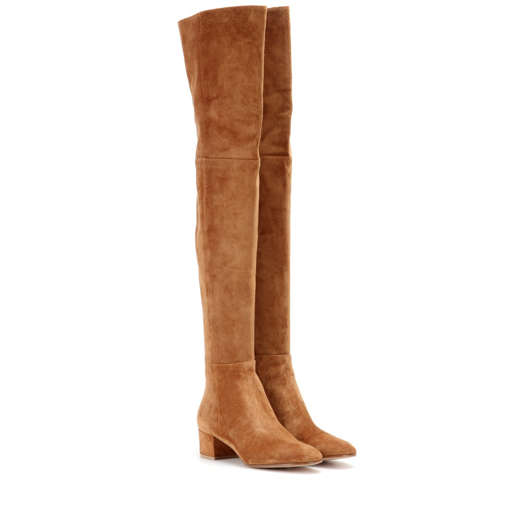 lyst gianvito rossi suede over the knee boots in brown. Black Bedroom Furniture Sets. Home Design Ideas