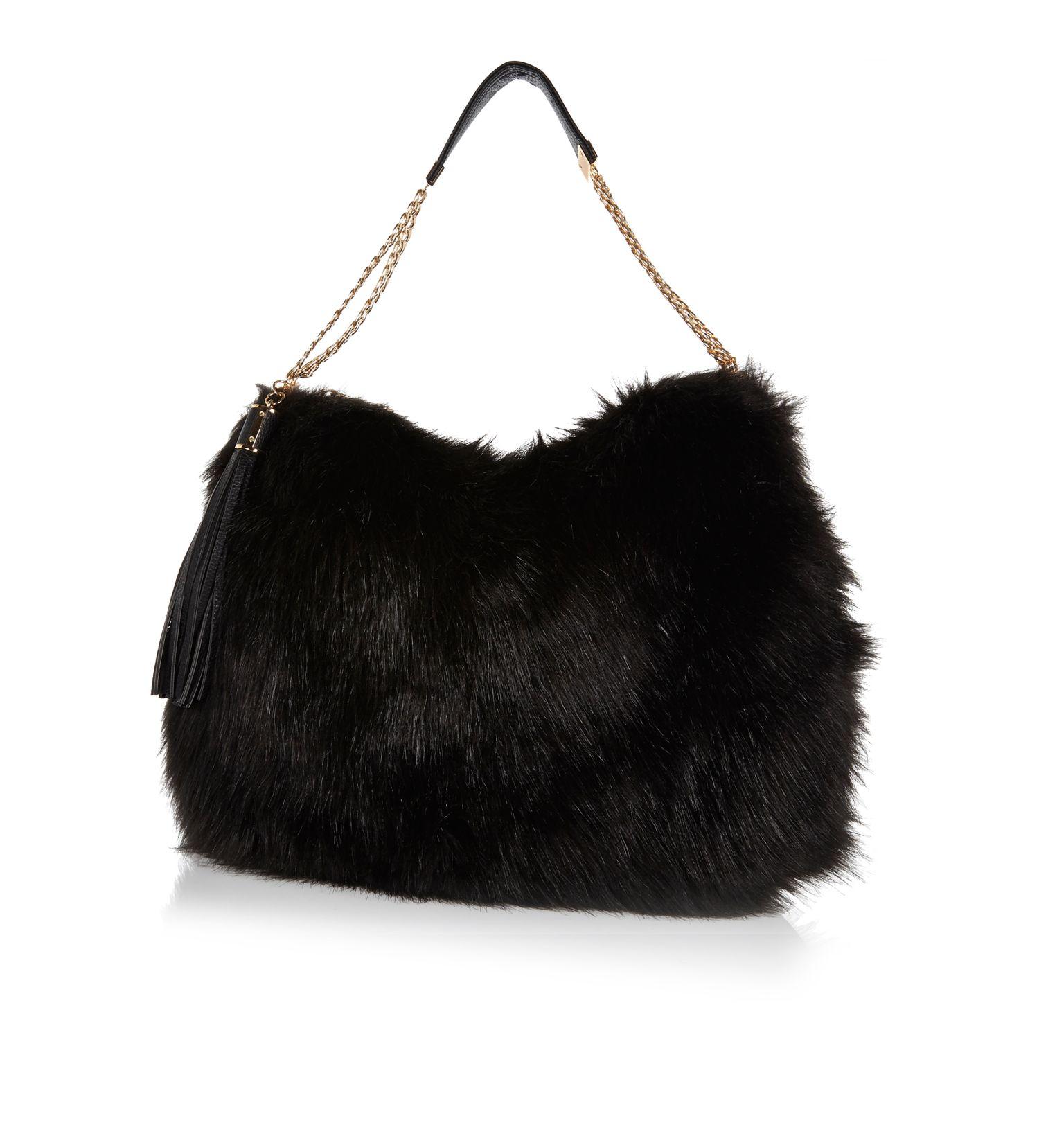 dfc1c2c28782 River Island Black Faux Fur Slouch Bag in Black - Lyst