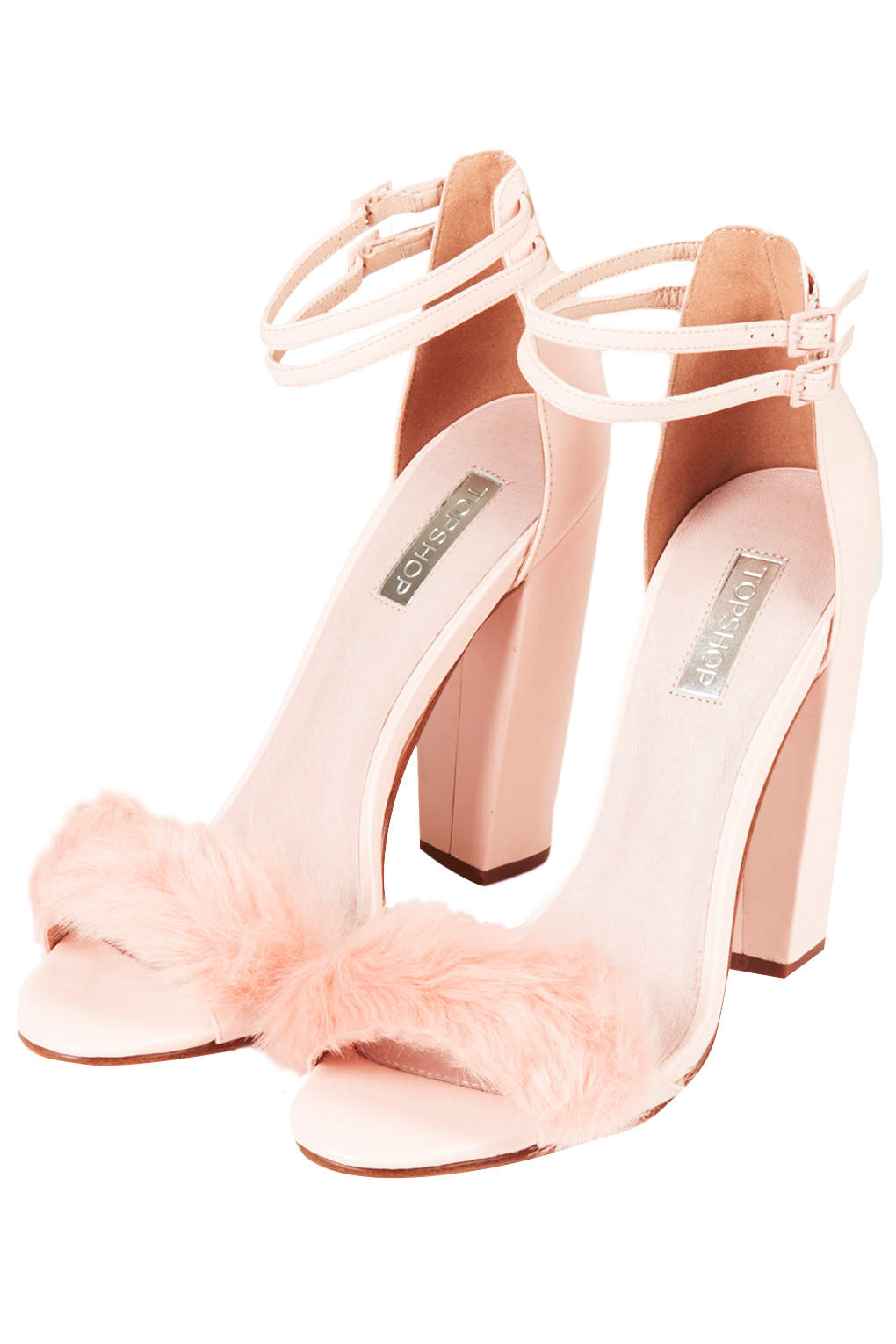 Topshop Rabbit Faux-Fur Fluffy Sandals in Pink | Lyst