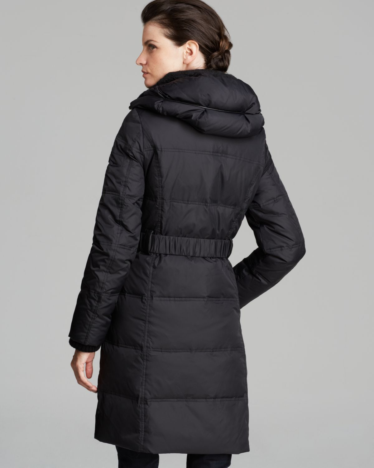 Dkny Down Coat - Faith Pillow Collar in Black | Lyst