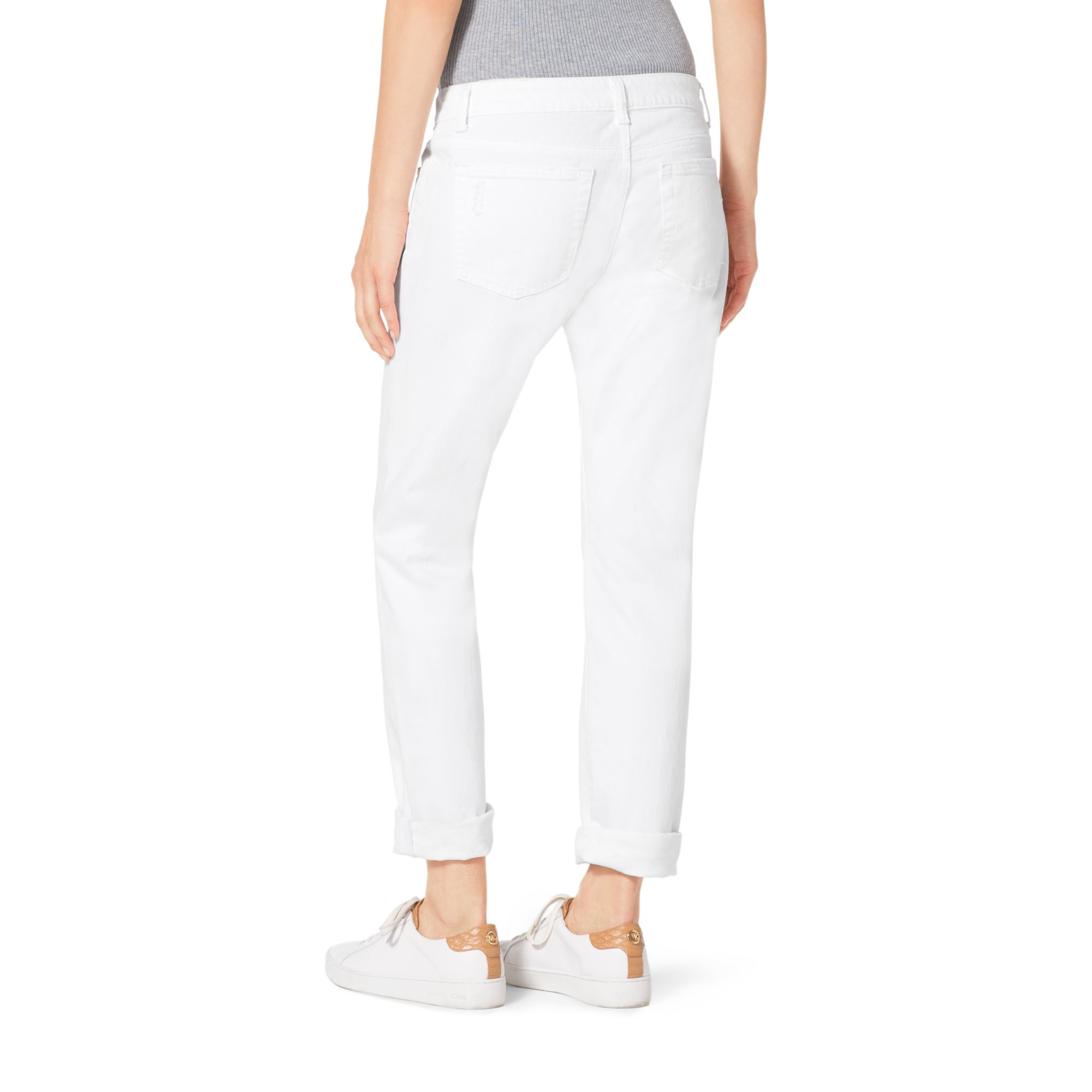 Lyst - Michael Kors Crystal-embellished Distressed Jeans in White d1aa52612