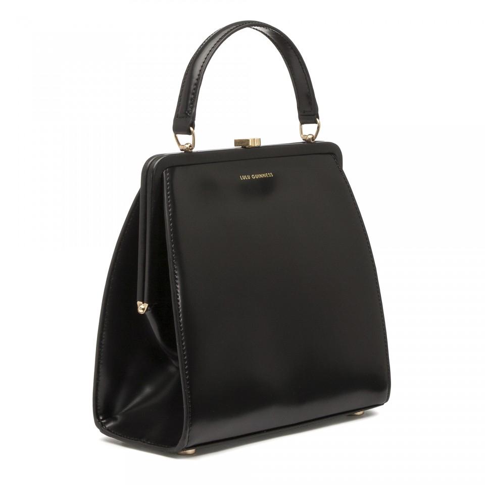 6afc9c6358f Lulu guinness black polished leather small eva in black lyst jpg 960x960 Lulu  guinness eva