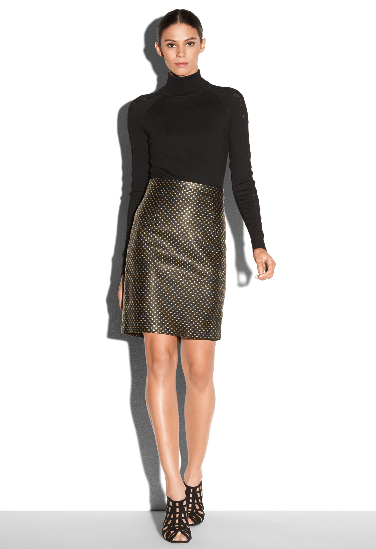 milly leather pencil skirt in gold lyst