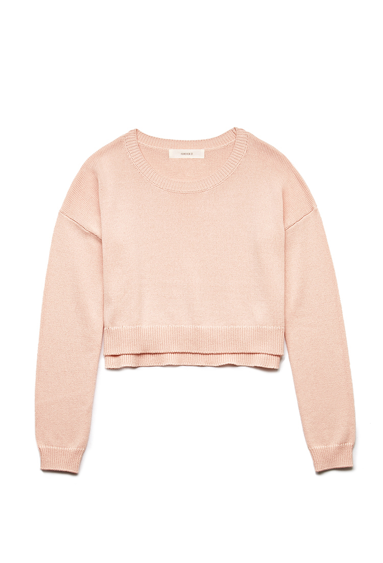 Forever 21 Lazy Day Cropped Sweater in Pink - Lyst 0e26e717f