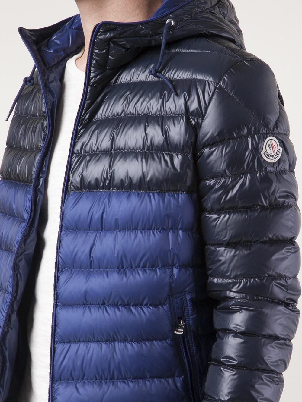 Lyst Moncler Contrast Puffer Coat In Blue For Men