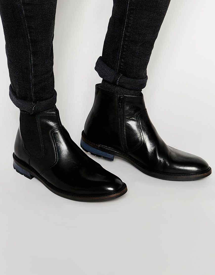 Lyst Dune Chunky Chelsea Boot In Black Leather In Black For Men