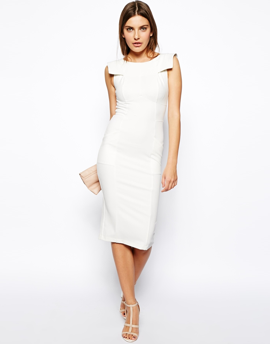 Lyst - Asos Pencil Dress With Fold Sleeve Detail in Yellow