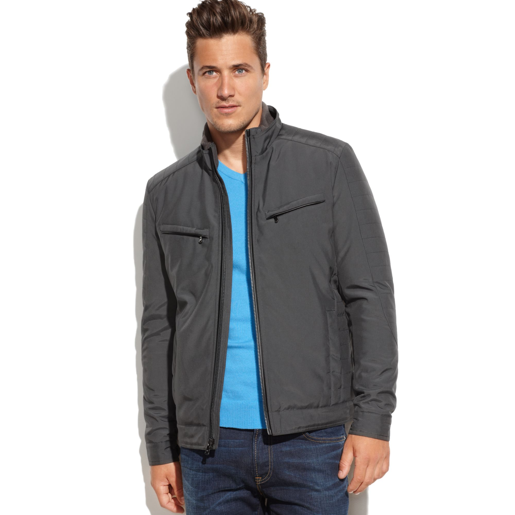michael kors michael northglen quilted moto jacket in gray for men graphite lyst. Black Bedroom Furniture Sets. Home Design Ideas