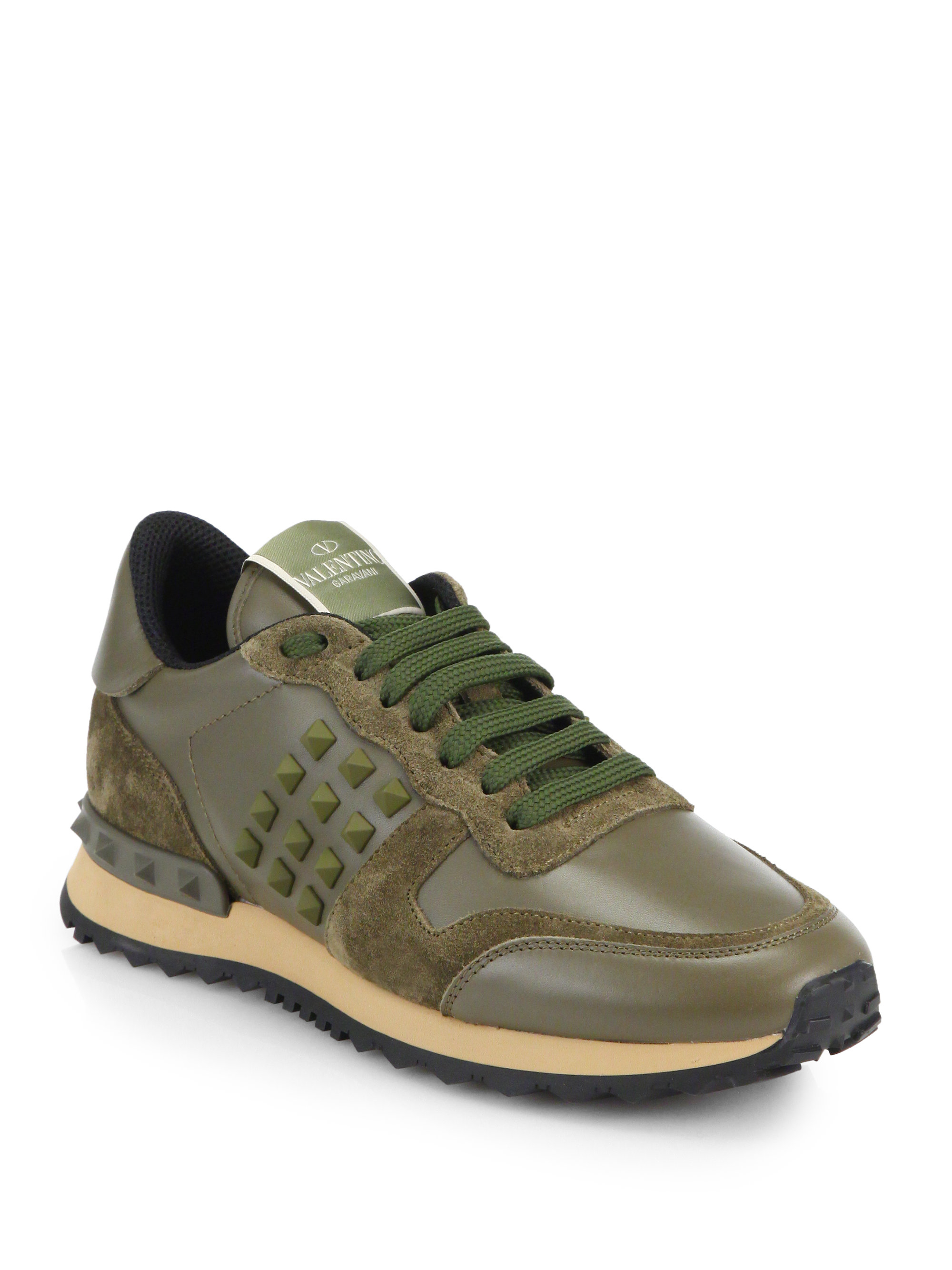 valentino rockstud leather suede sneakers in green for men lyst. Black Bedroom Furniture Sets. Home Design Ideas
