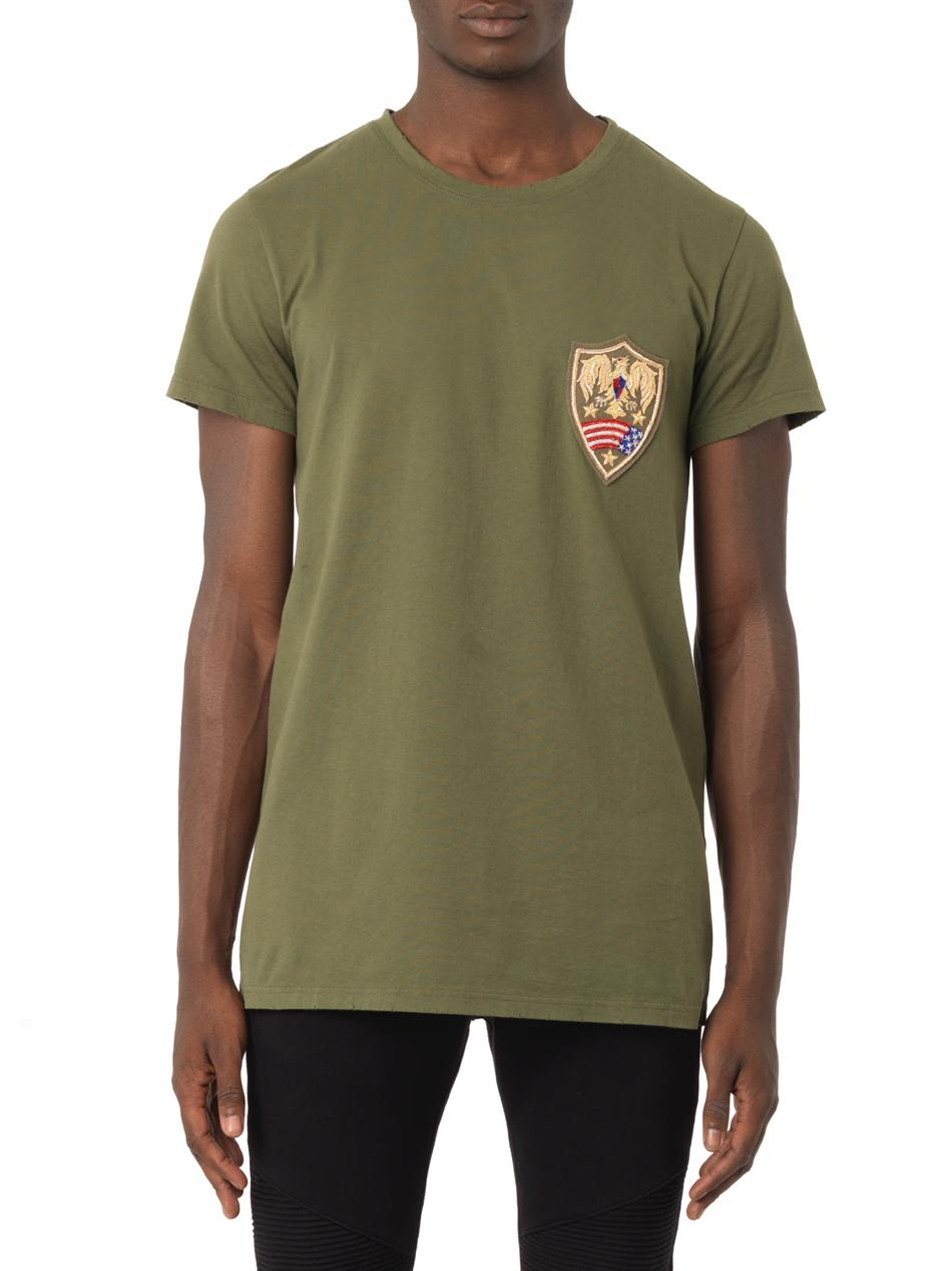 balmain distressed chest badge t shirt in green for men lyst. Black Bedroom Furniture Sets. Home Design Ideas