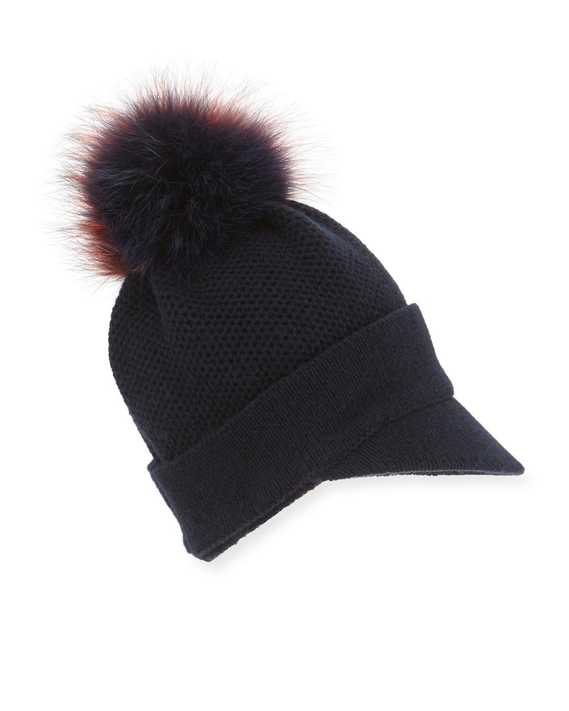 eae21c97794 Lyst - Inverni Knit Beanie Hat W fur Pom-pom in Blue