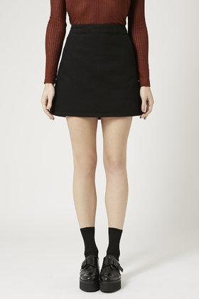 Topshop Moto Clean-cut Denim Mini Skirt in Black | Lyst