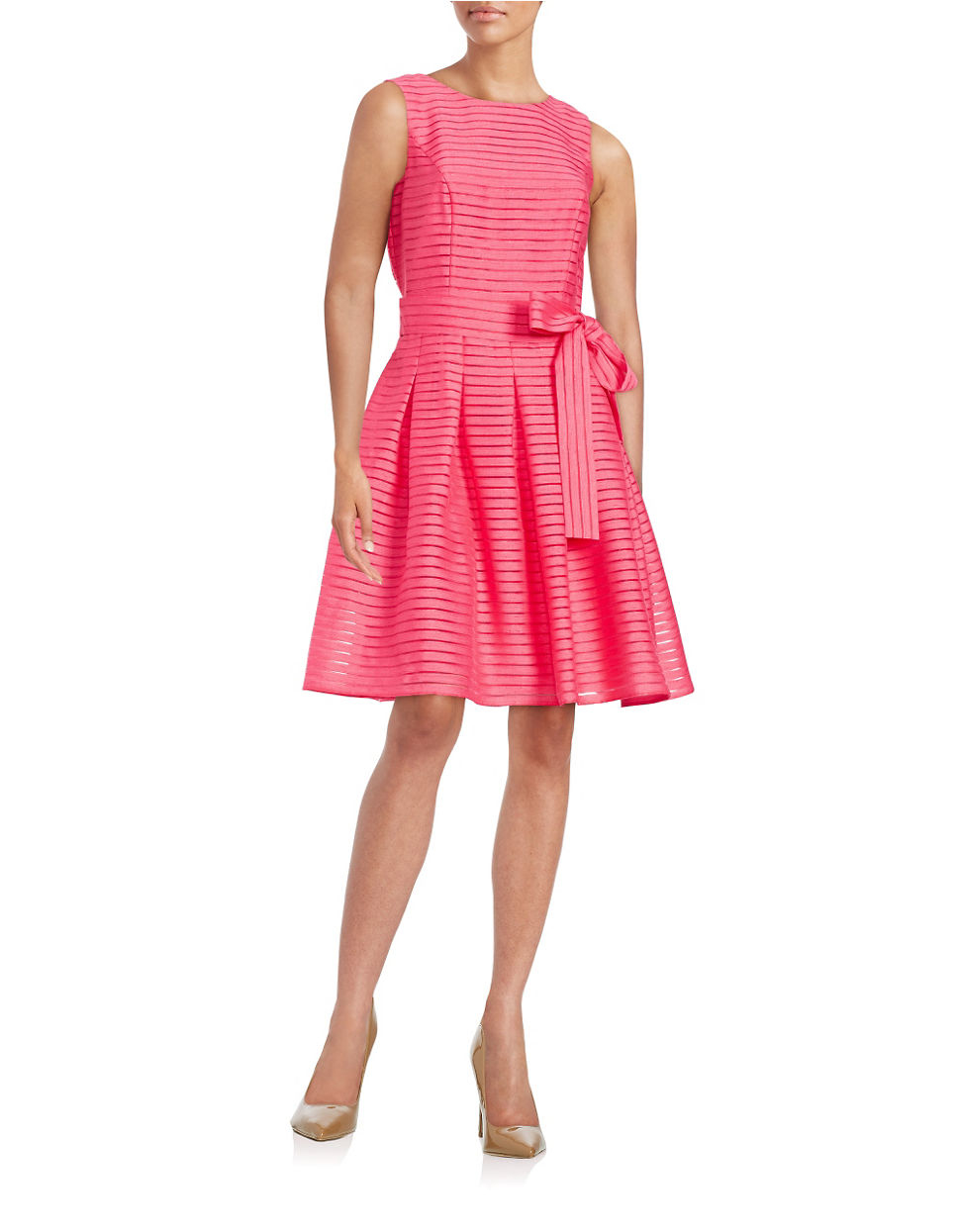 Tommy Hilfiger Ribbon Stripe Fit Amp Flare Dress In Pink Lyst