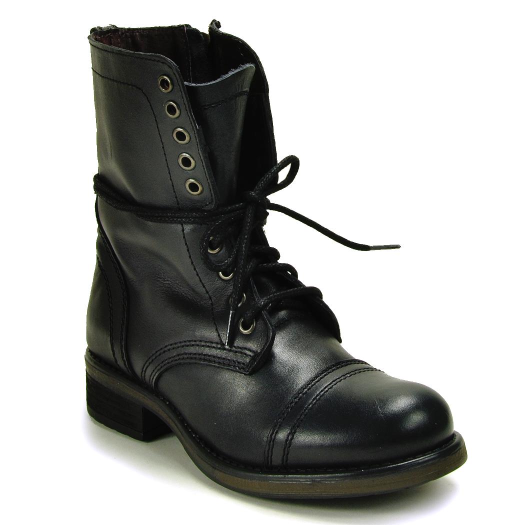 steve madden combat boot in black lyst. Black Bedroom Furniture Sets. Home Design Ideas