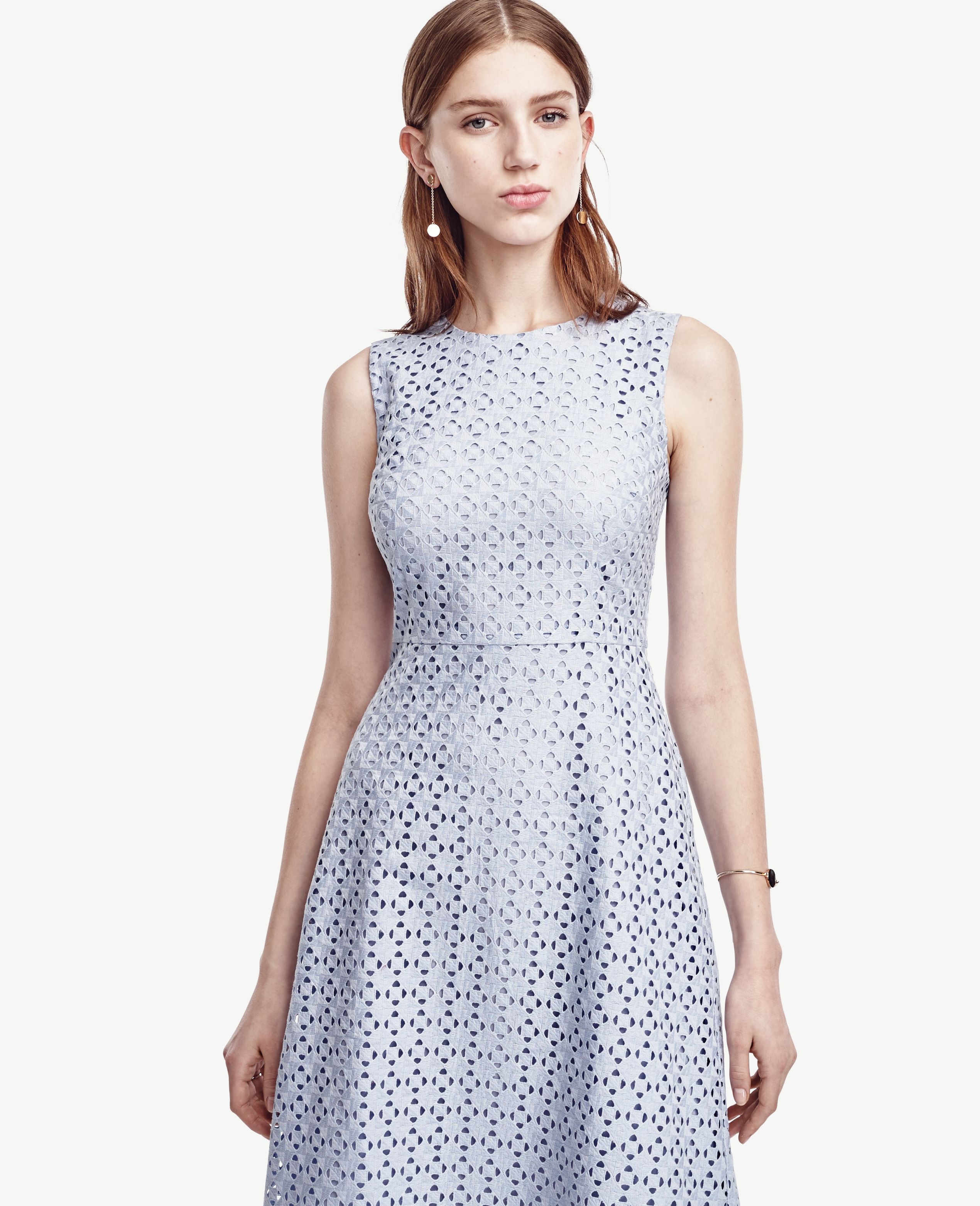 9765def8ea Lyst - Ann Taylor Eyelet Flare Dress in Blue