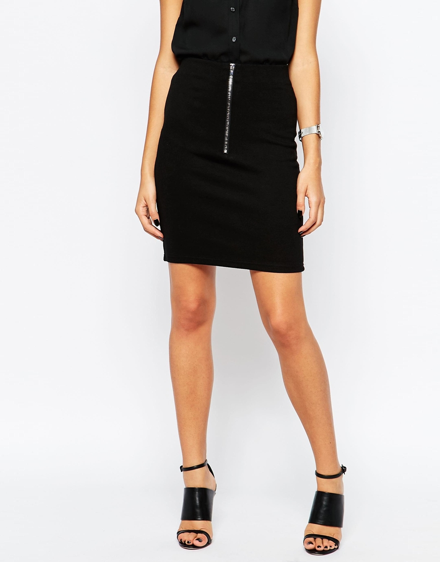 minimum pencil skirt with zip detail in black lyst