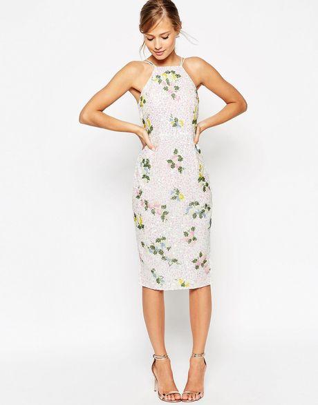 Asos salon drape back floral iridescent sequin pencil dress in beige white lyst - Slon beige ...