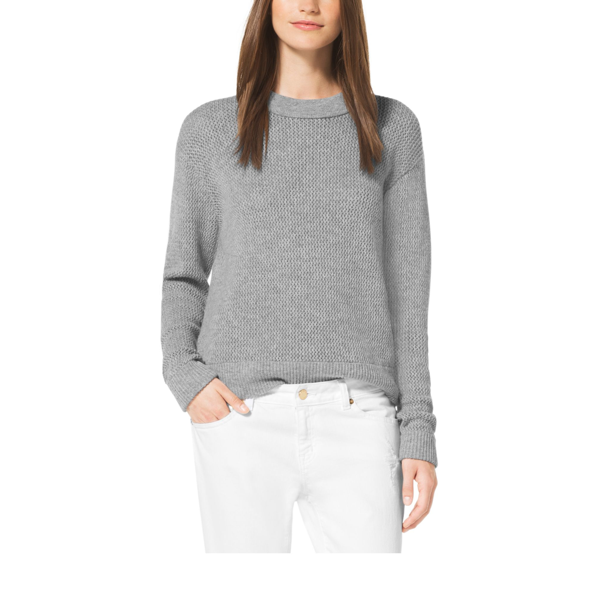 52ee154b13db Michael Kors Wool And Cashmere Sweater in Gray - Lyst