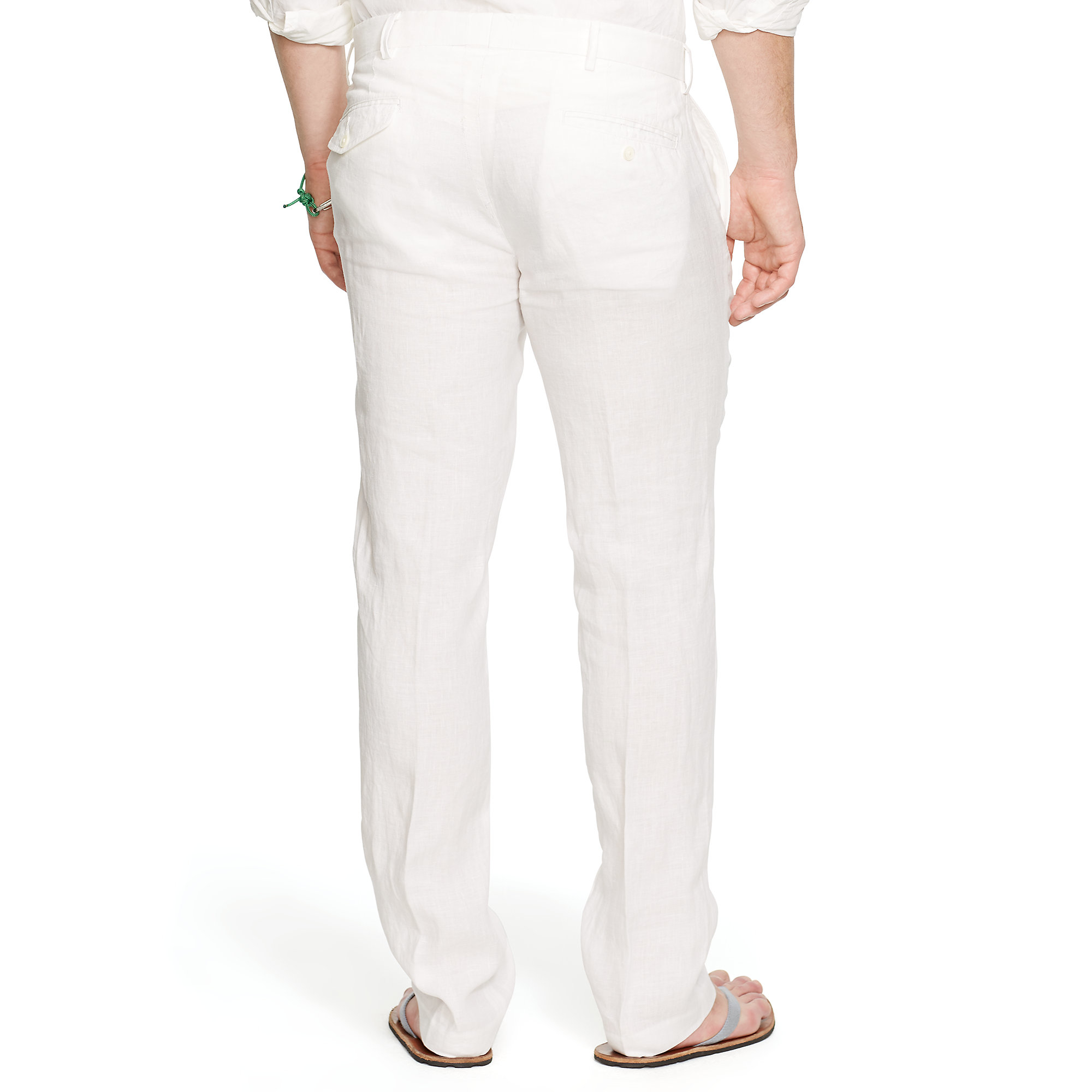 Polo ralph lauren Straight-fit Linen Pant in White for Men | Lyst