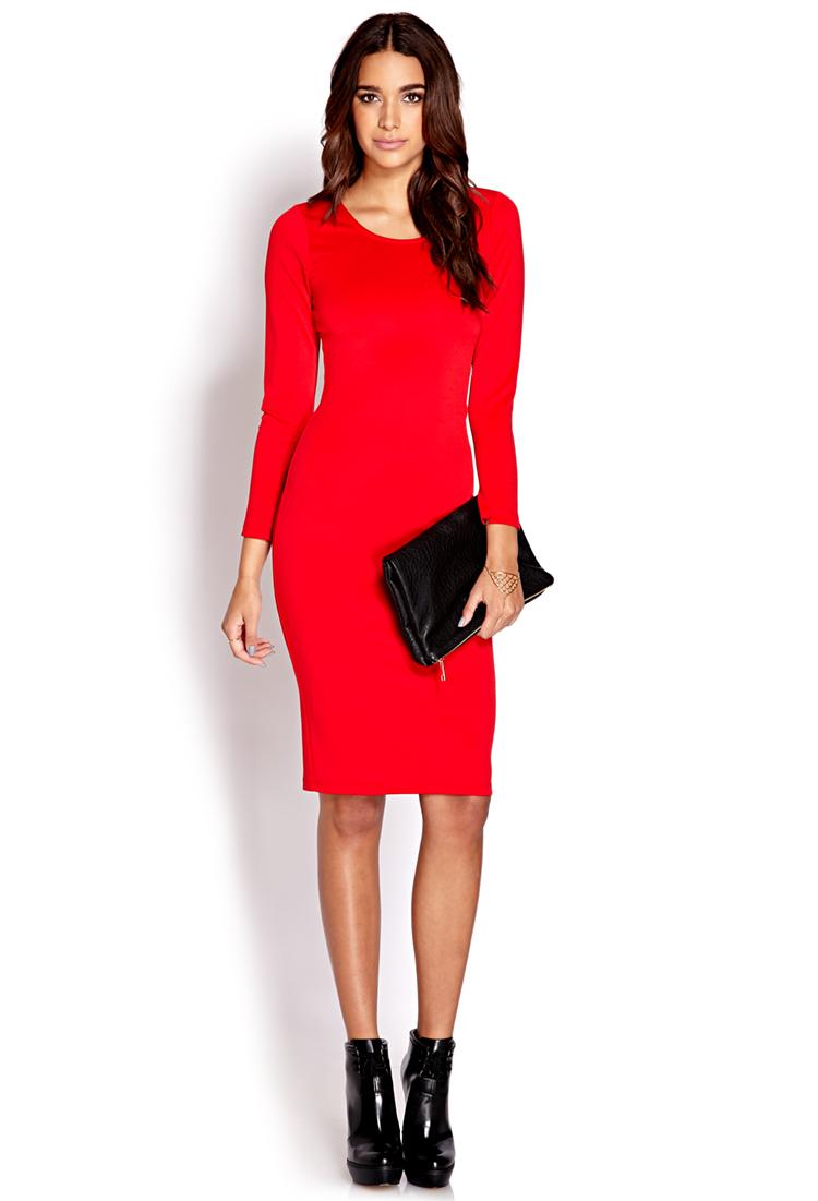 Forever 21 Easy Ponte Midi Dress in Red | Lyst