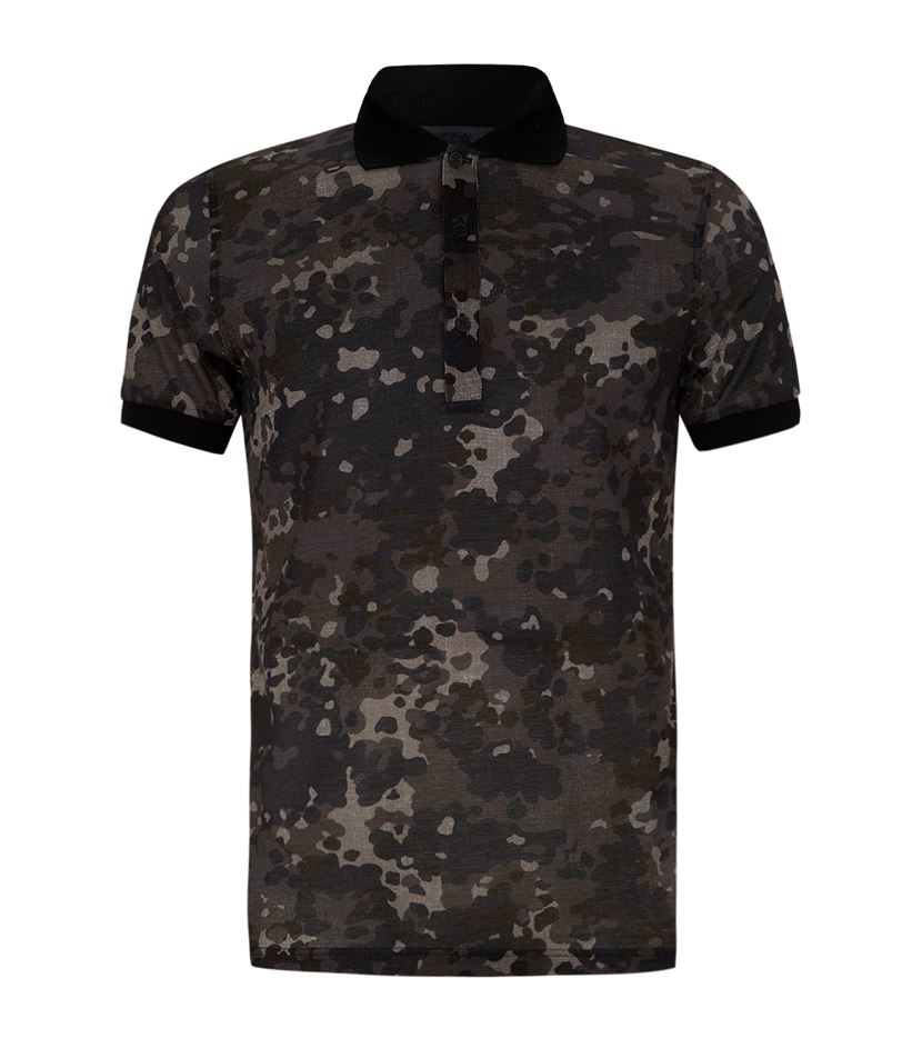 Lyst burberry prorsum camo print polo shirt in brown for men for Camo polo shirts for men